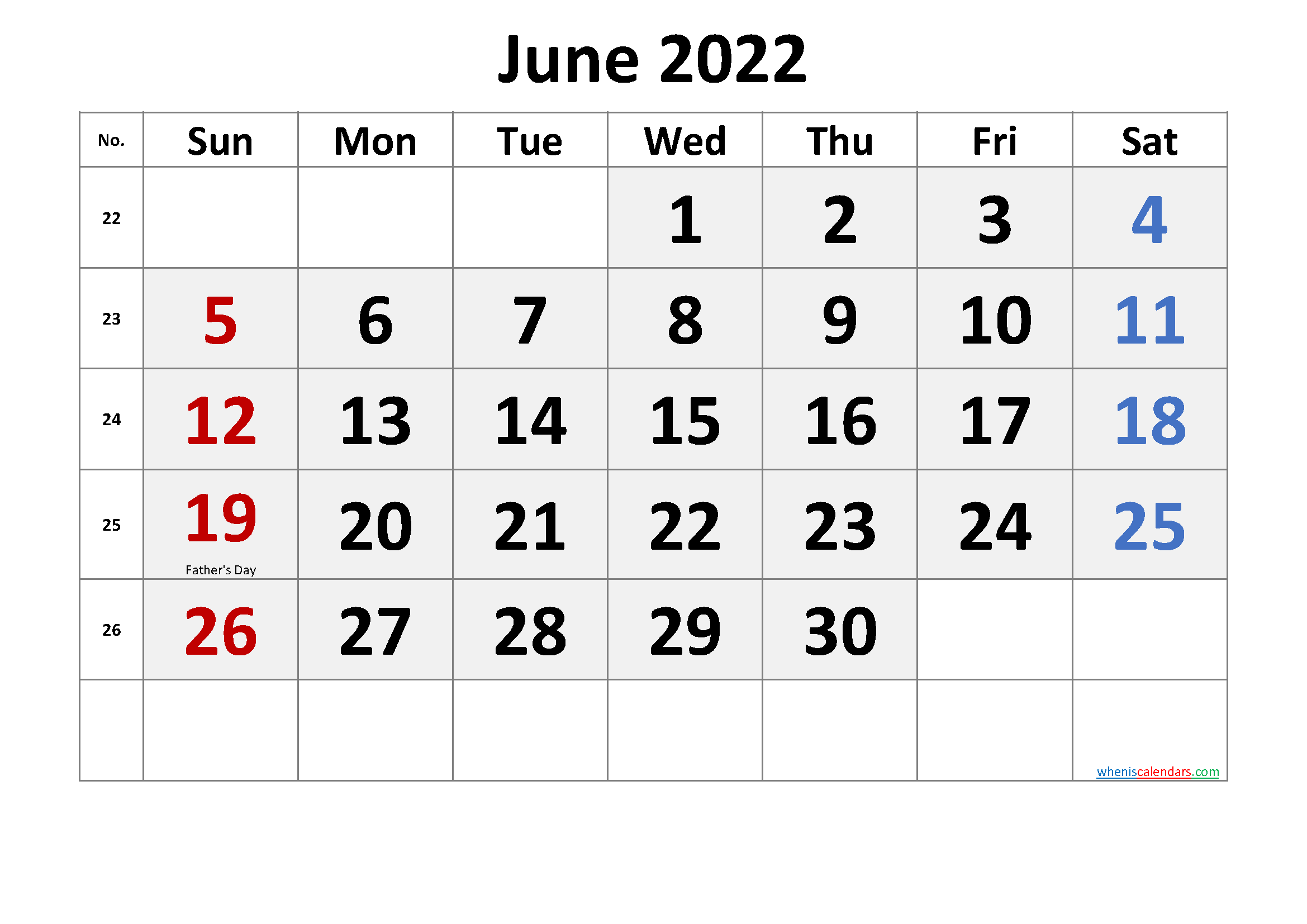 June 2022 Calendar with Holidays Printable