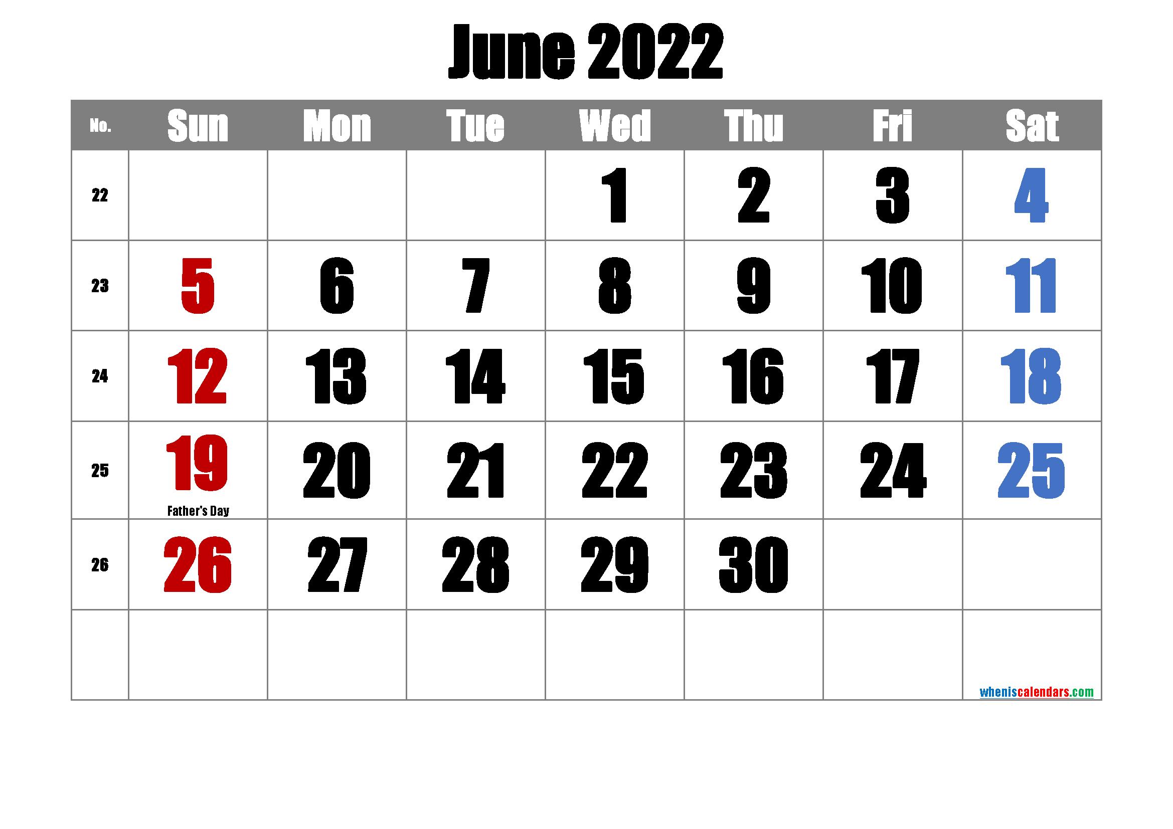 Free June 2022 Calendar Printable