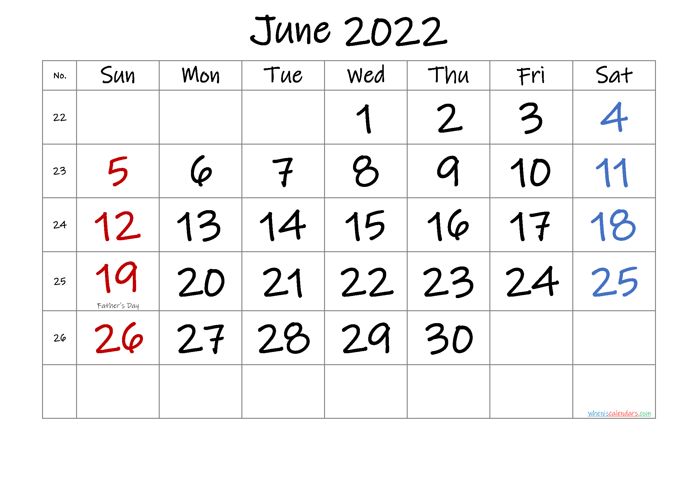 Free June 2022 Monthly Calendar Template Word