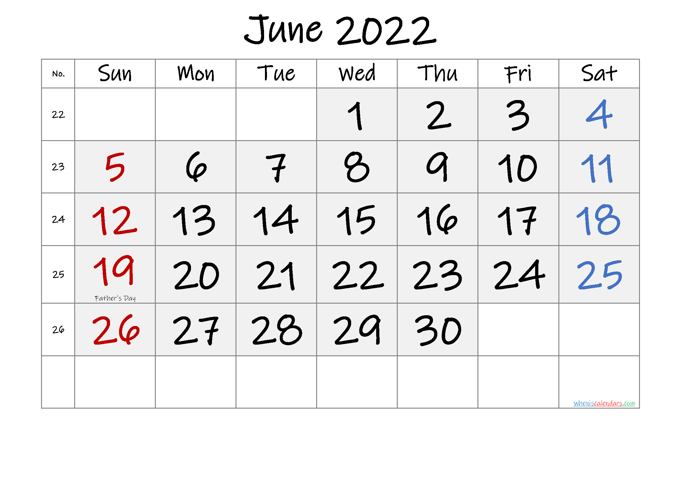 Free June 2022 Monthly Calendar PDF
