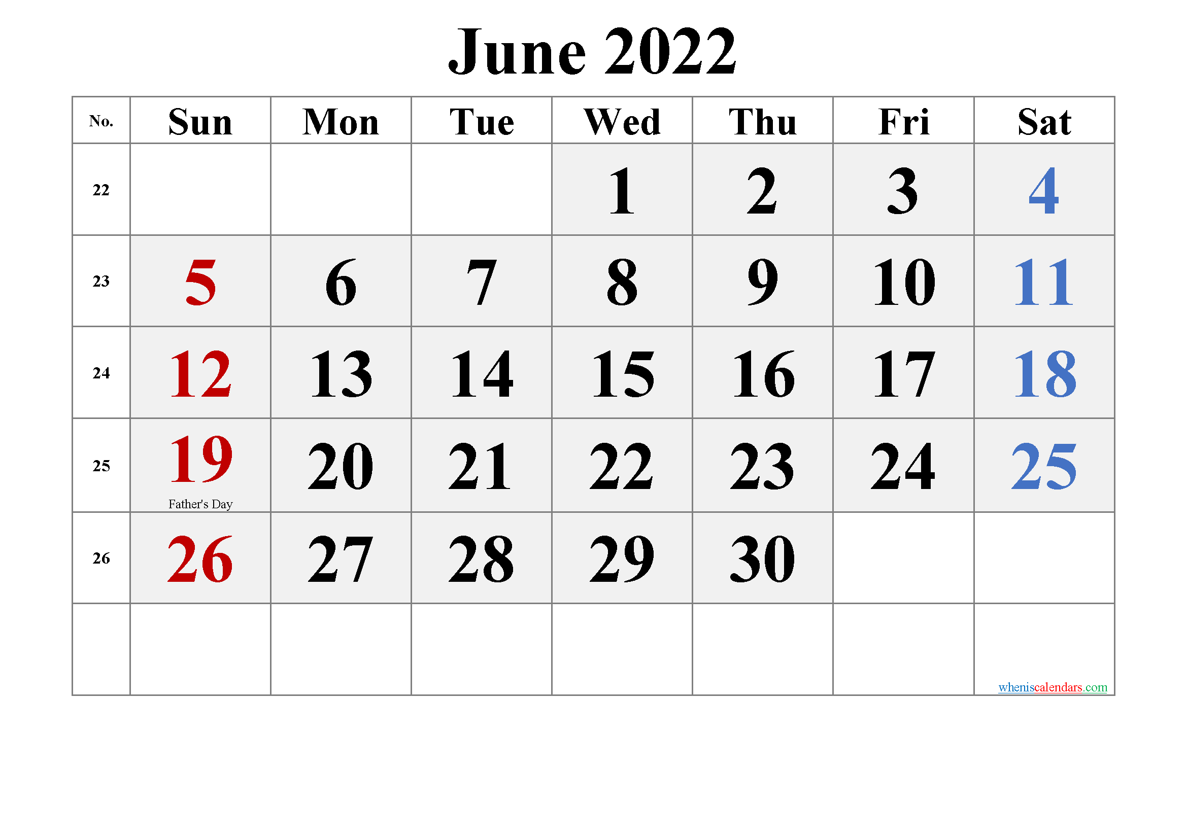 Printable June 2022 Calendar Word