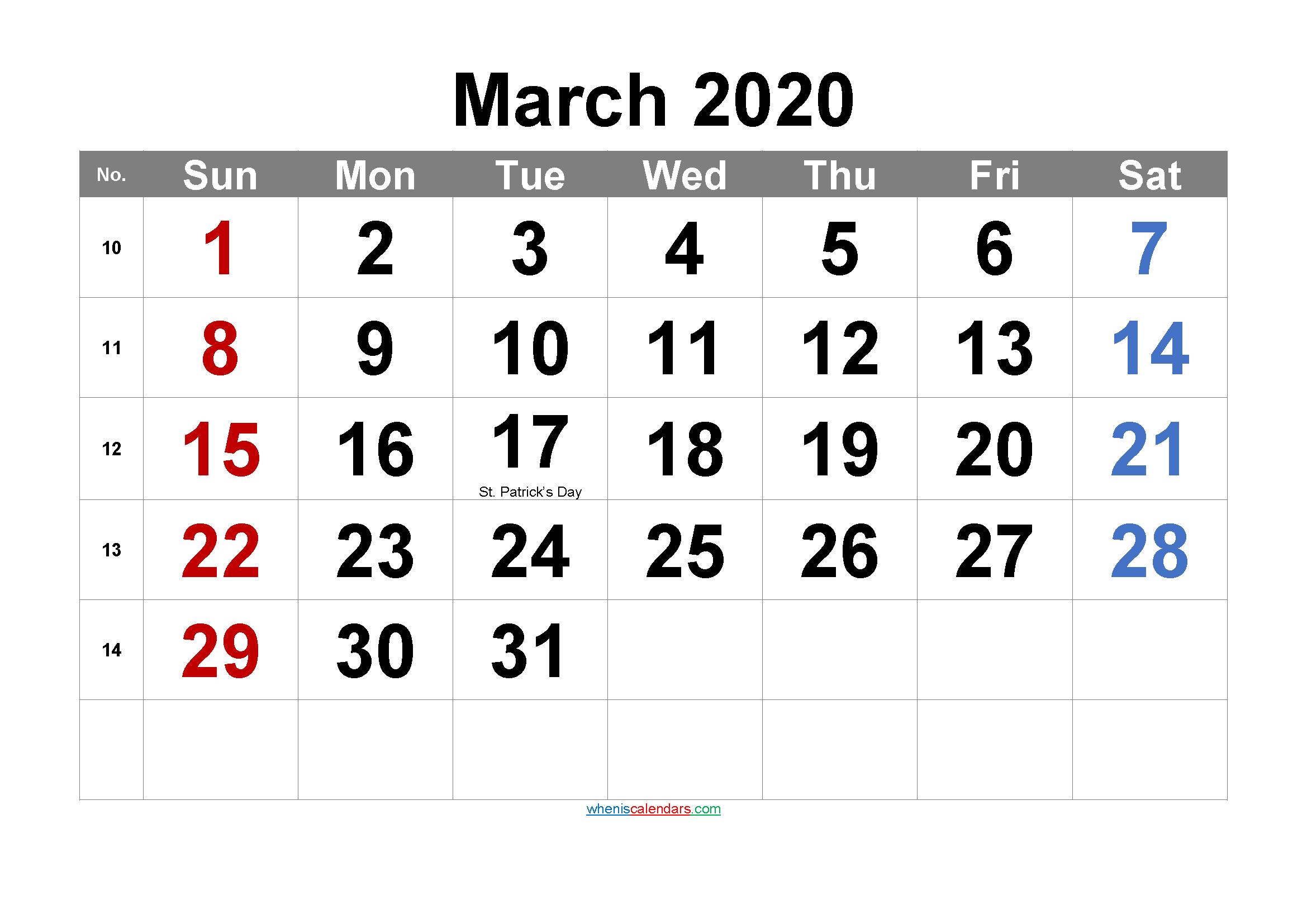 Editable March 2020 Calendar with Holidays