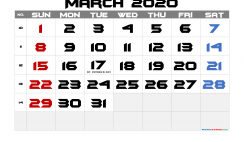 Free March 2020 Calendar Printable