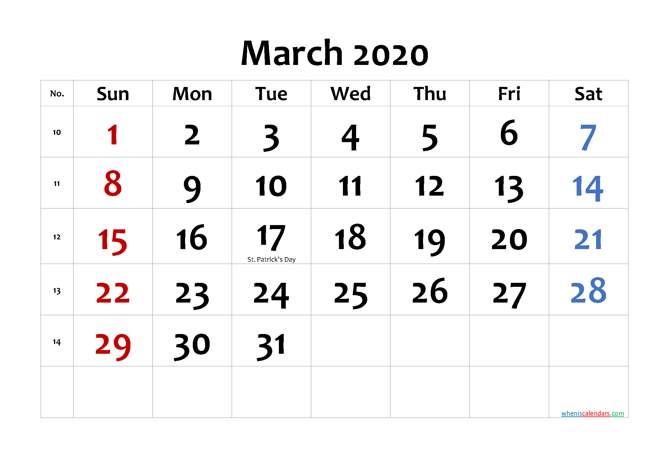 MARCH 2020 Printable Calendar with Holidays