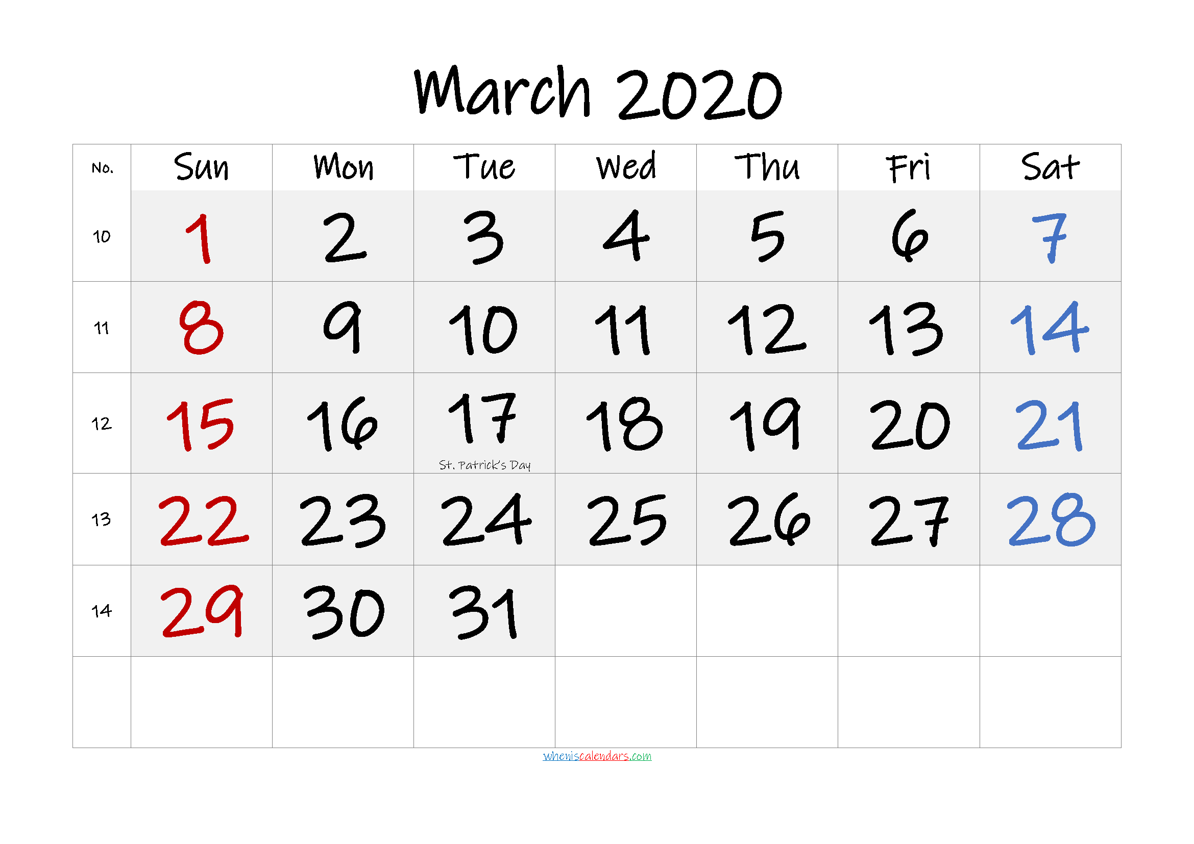 Free March 2020 Monthly Calendar PDF