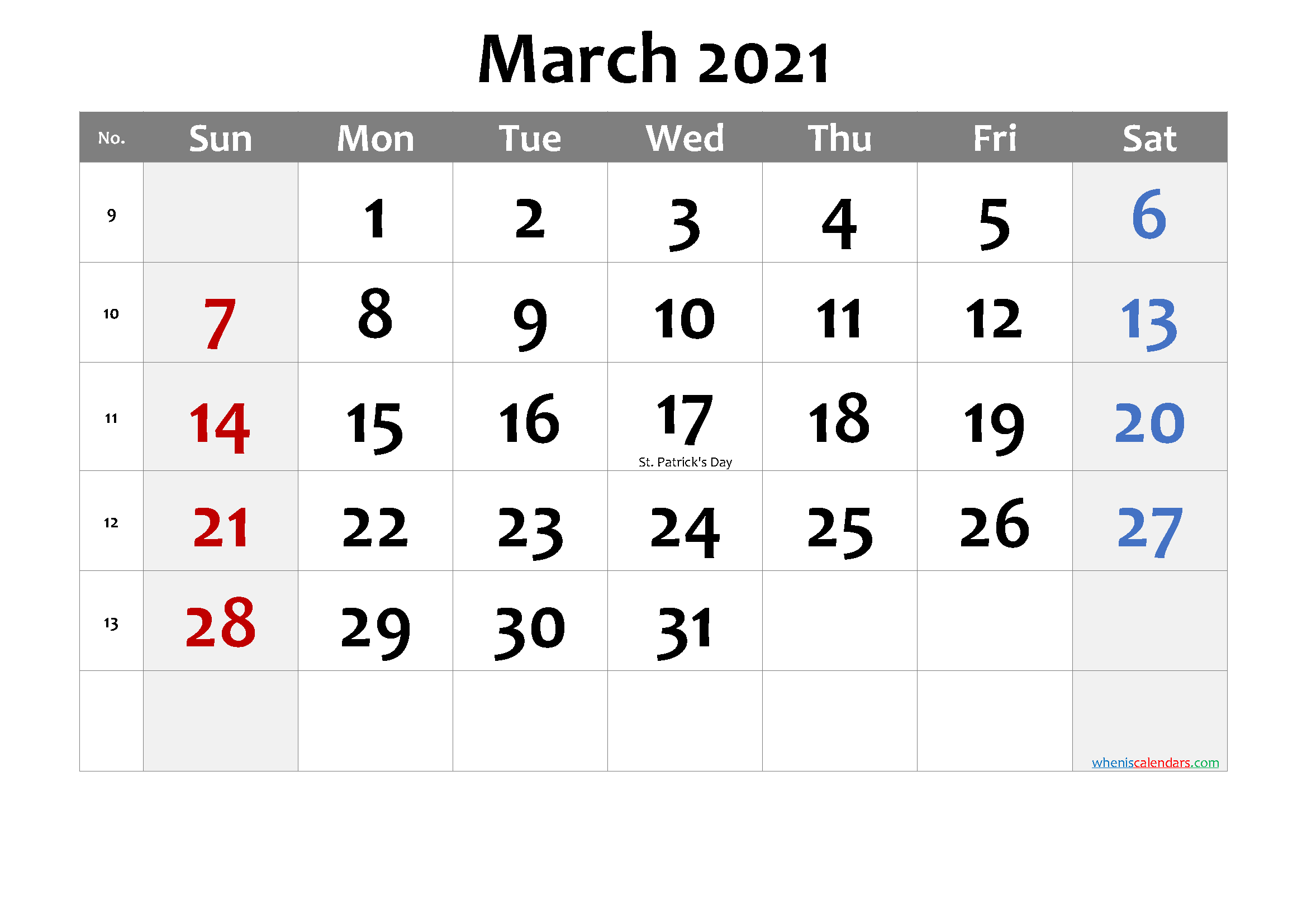 Printable March 2021 Calendar with Holidays