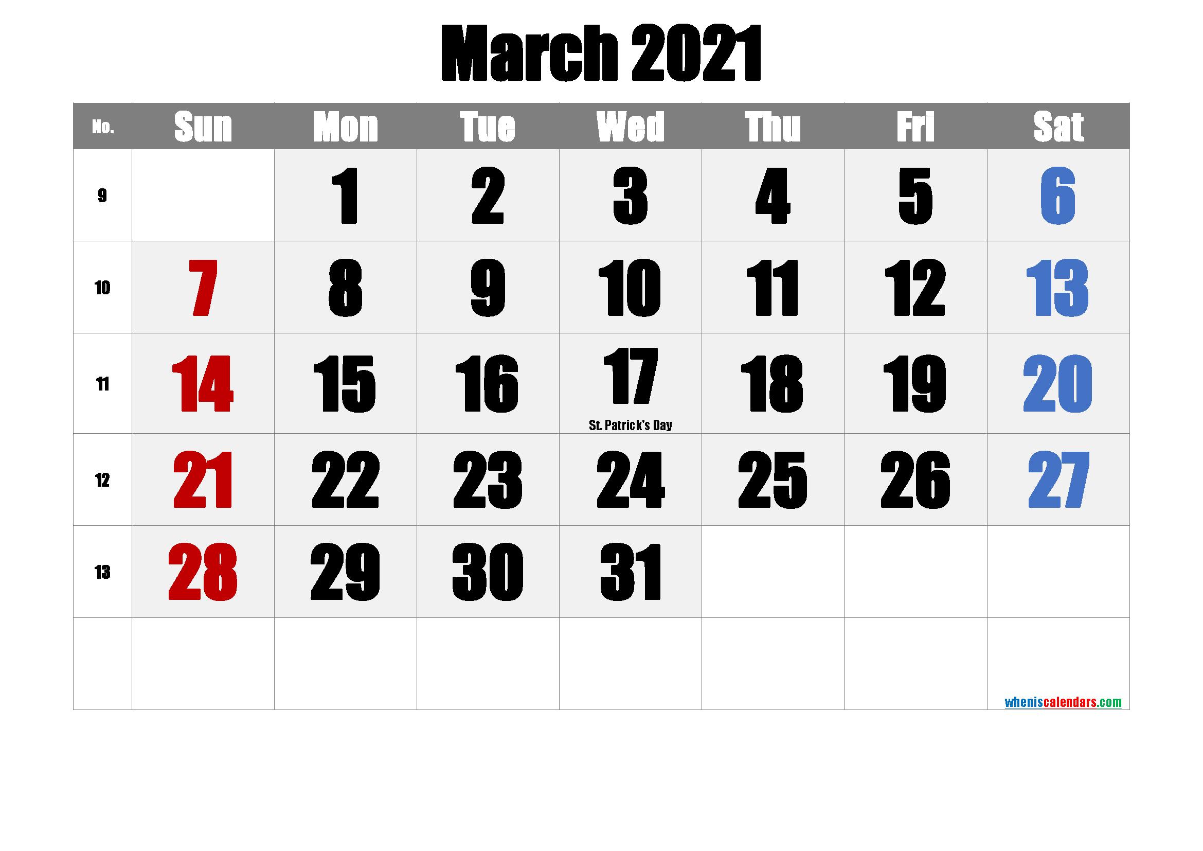 March 2021 Free Printable Calendar