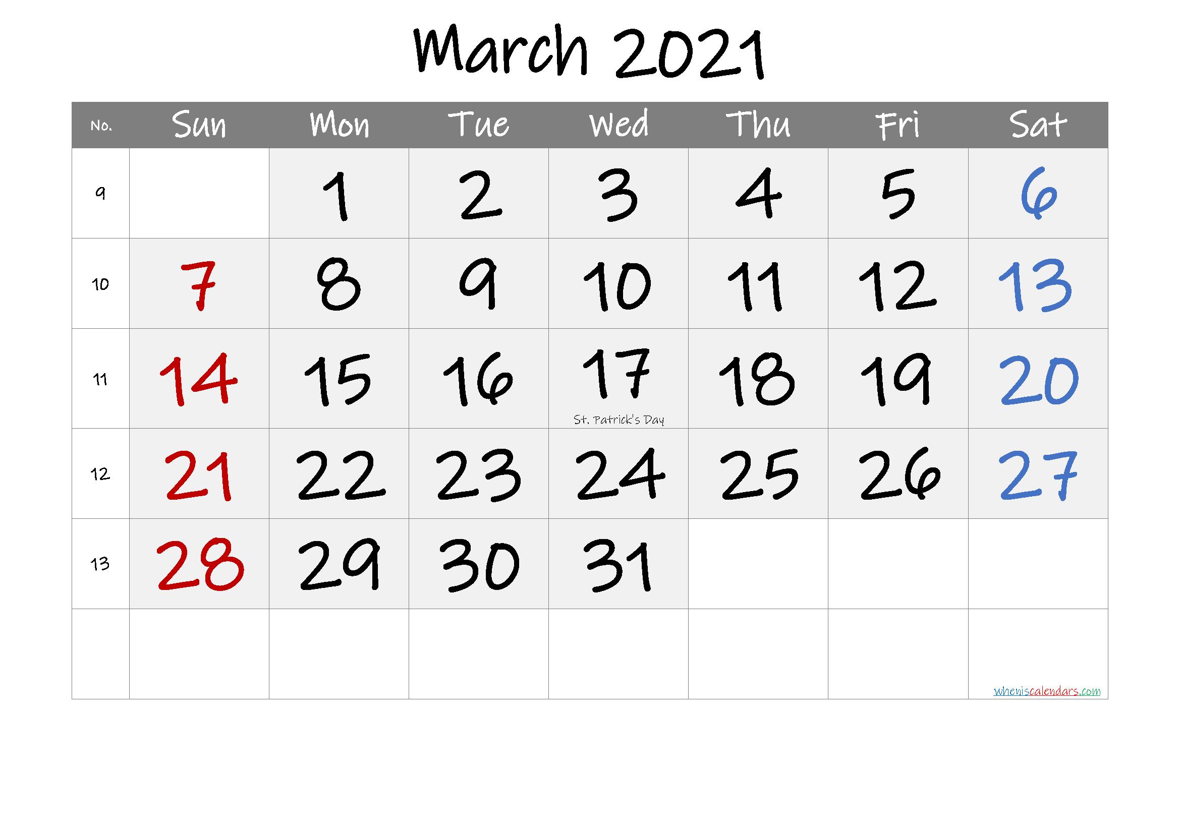 Free Printable Coloring Calendar 2021 March