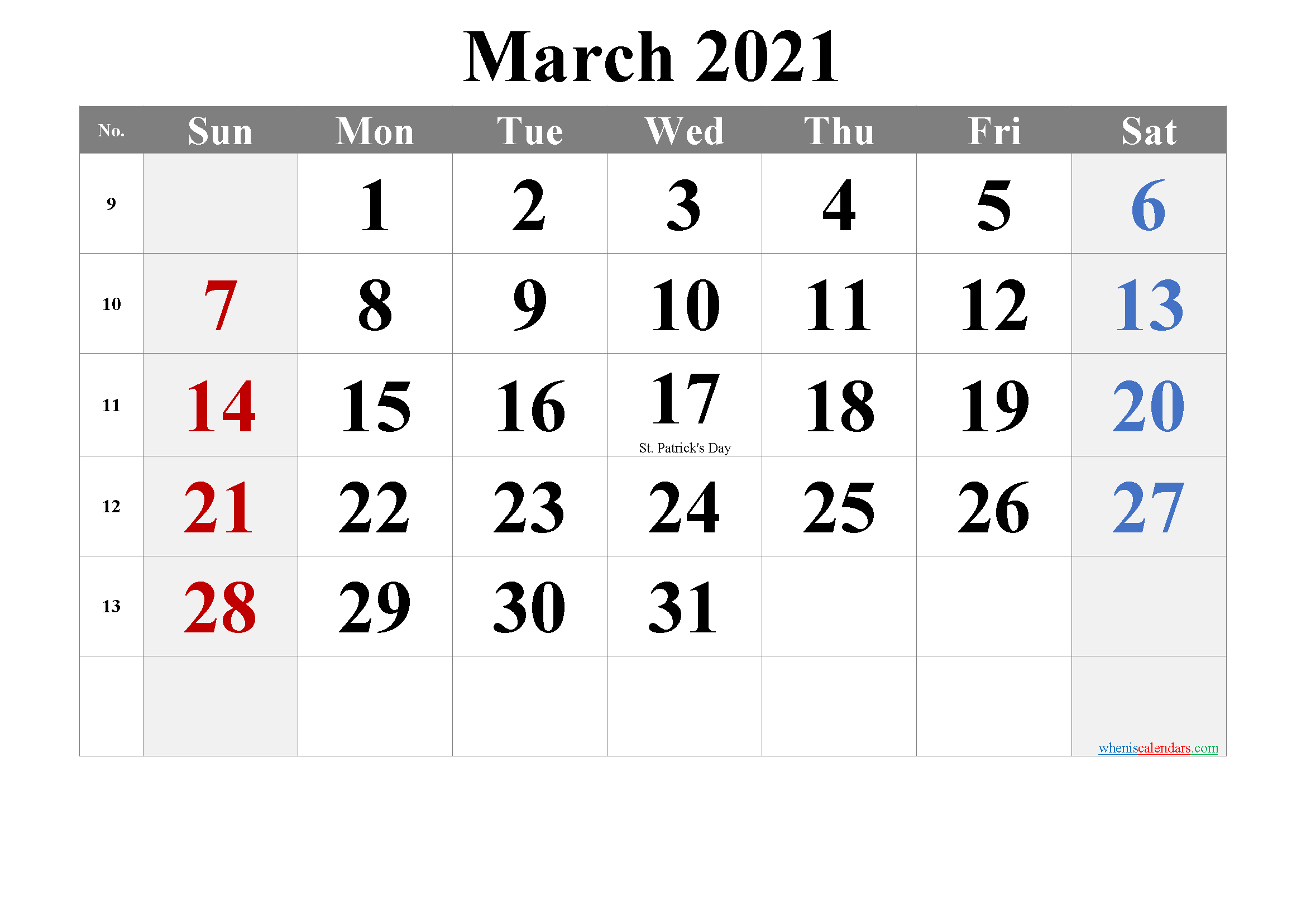MARCH 2021 Printable Calendar with Holidays