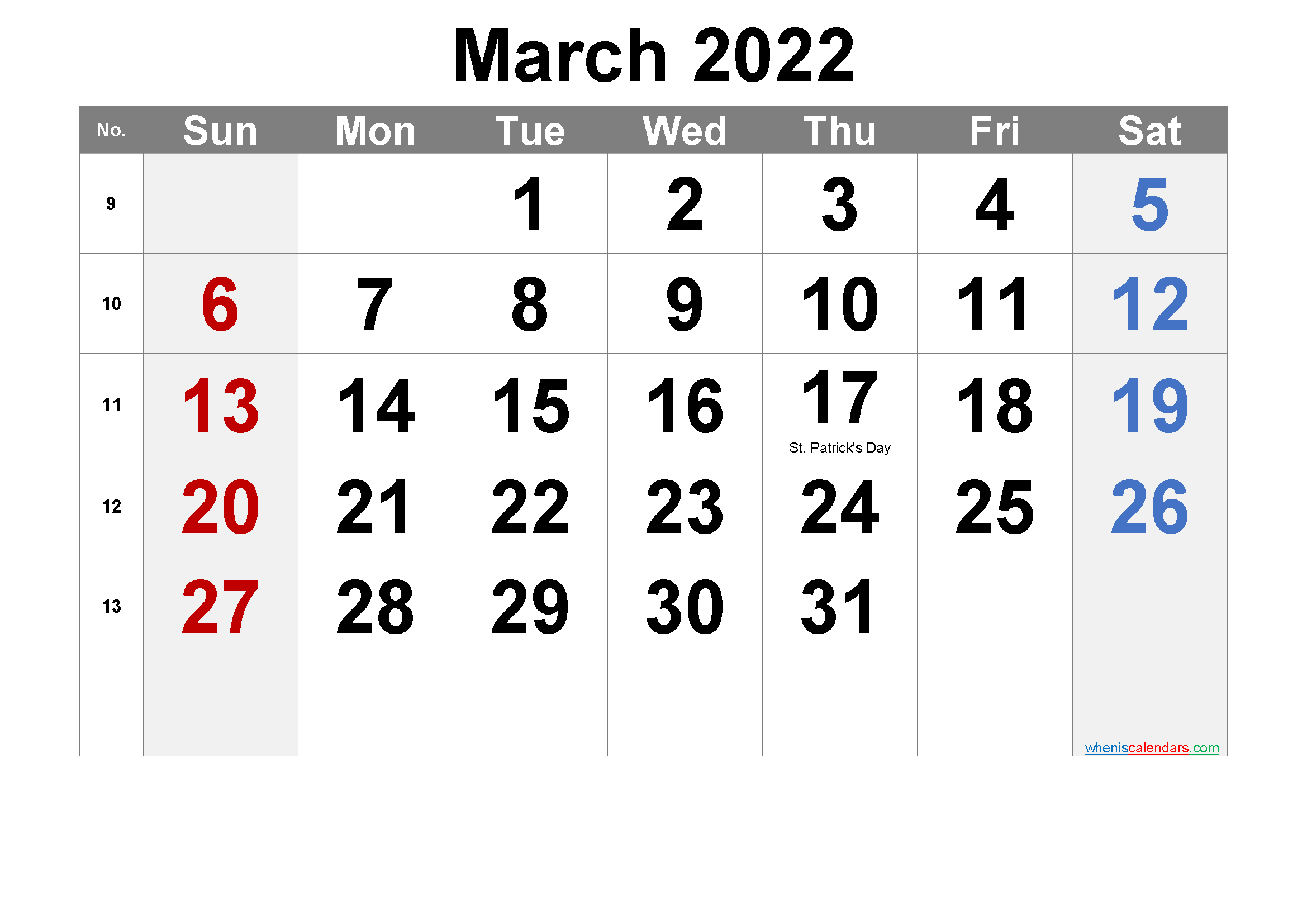 Printable March 2022 Calendar Word