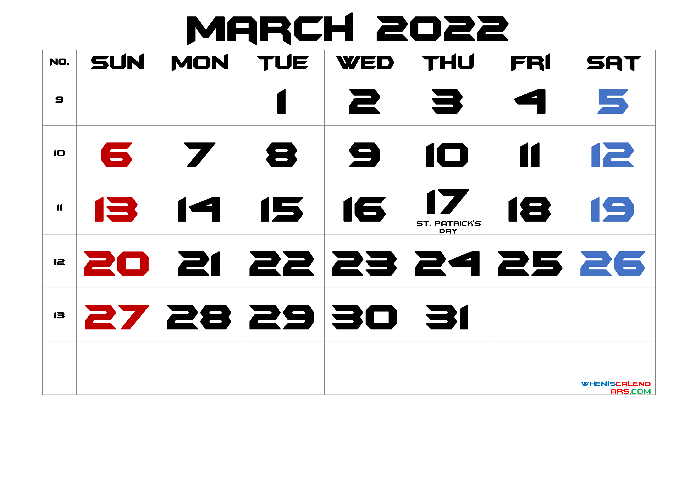 MARCH 2022 Printable Calendar with Holidays