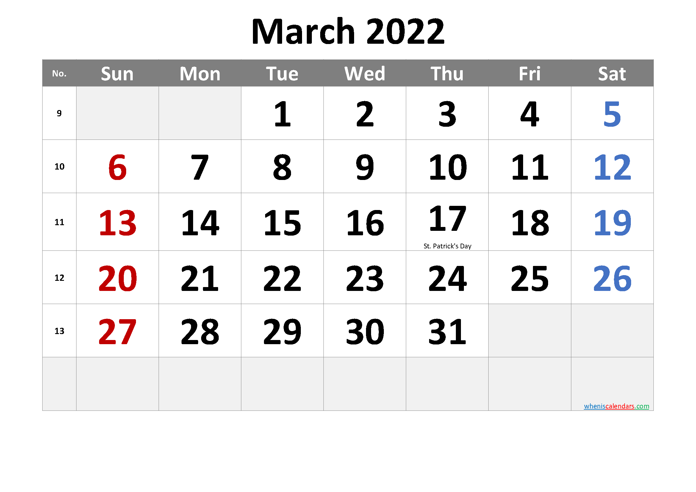 Free March 2022 Monthly Calendar PDF