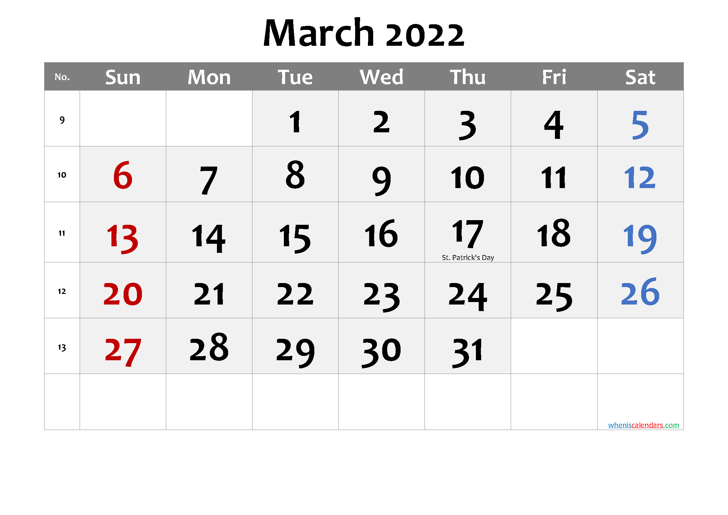 March 2022 Calendar with Holidays Printable