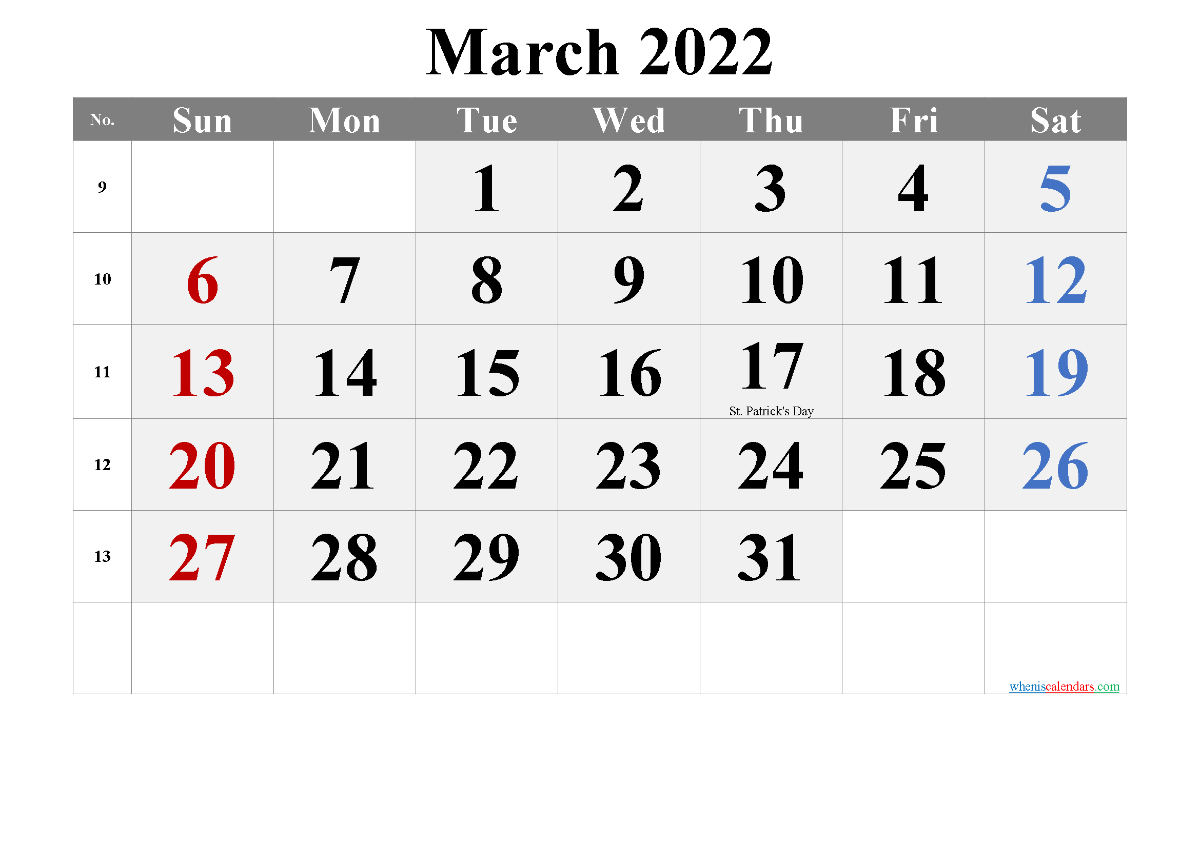 Printable March 2022 Calendar with Holidays