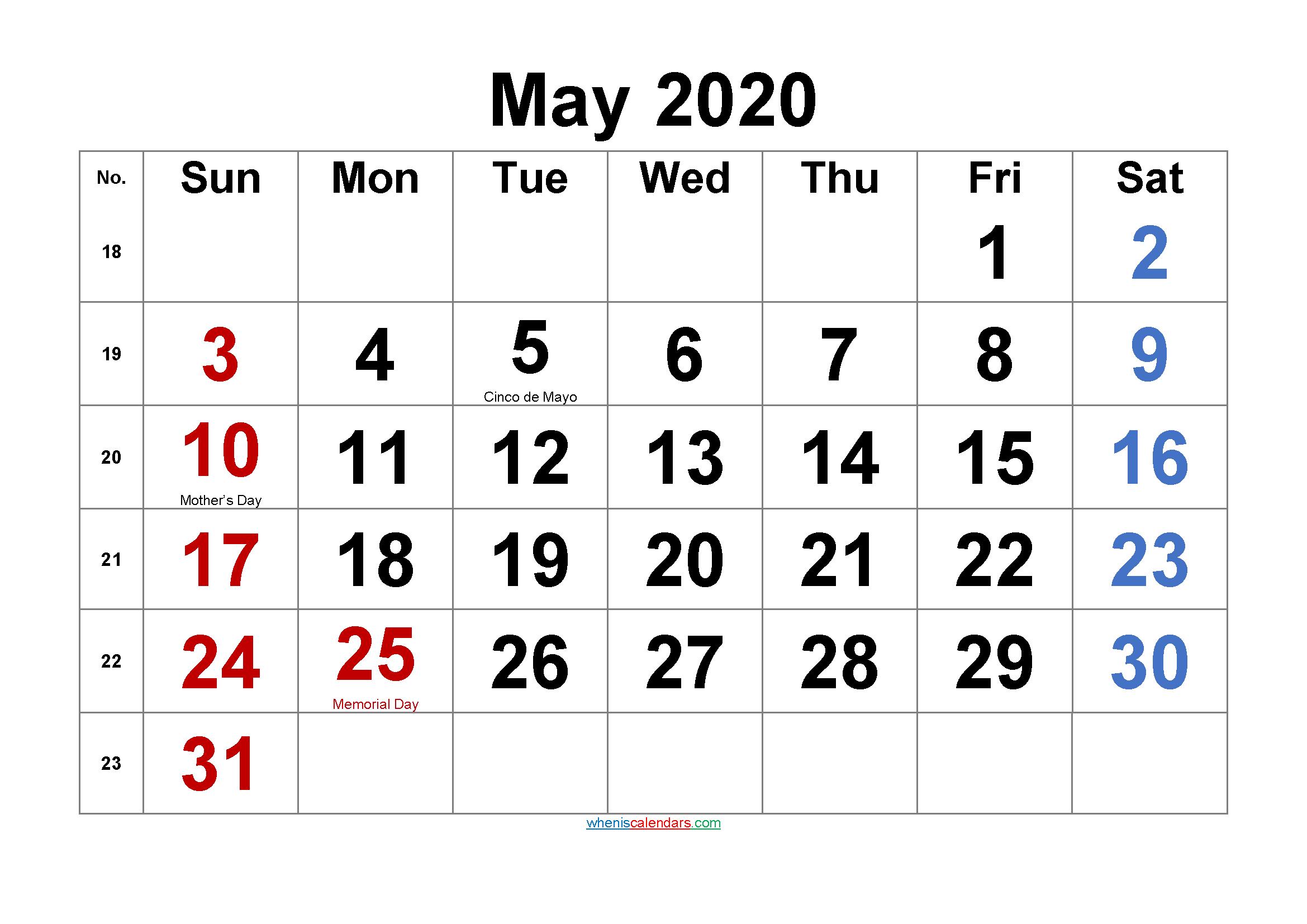 Free Printable MAY 2020 Calendar with Holidays