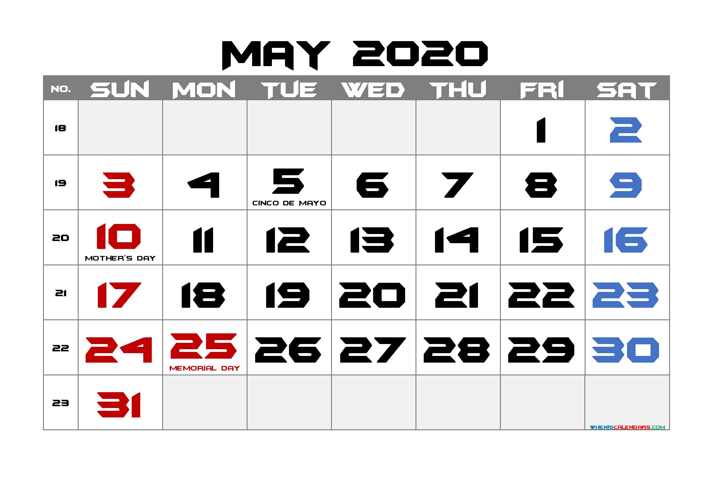 May 2020 Free Printable Calendar with Holidays