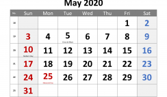 May 2020 Printable Calendar with Holidays