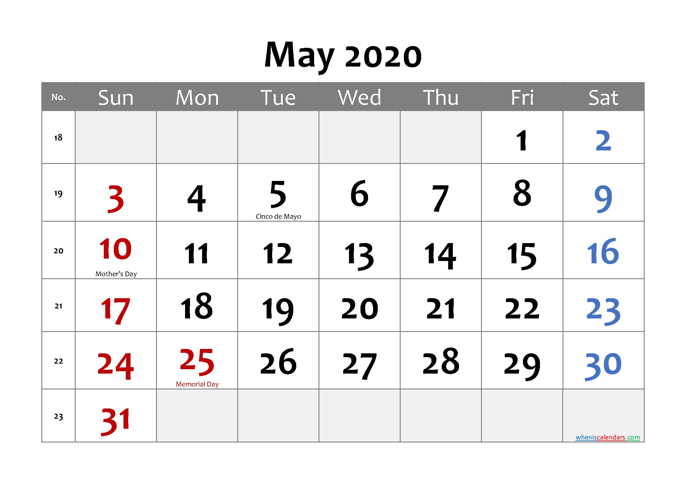 Printable May 2020 Calendar Word