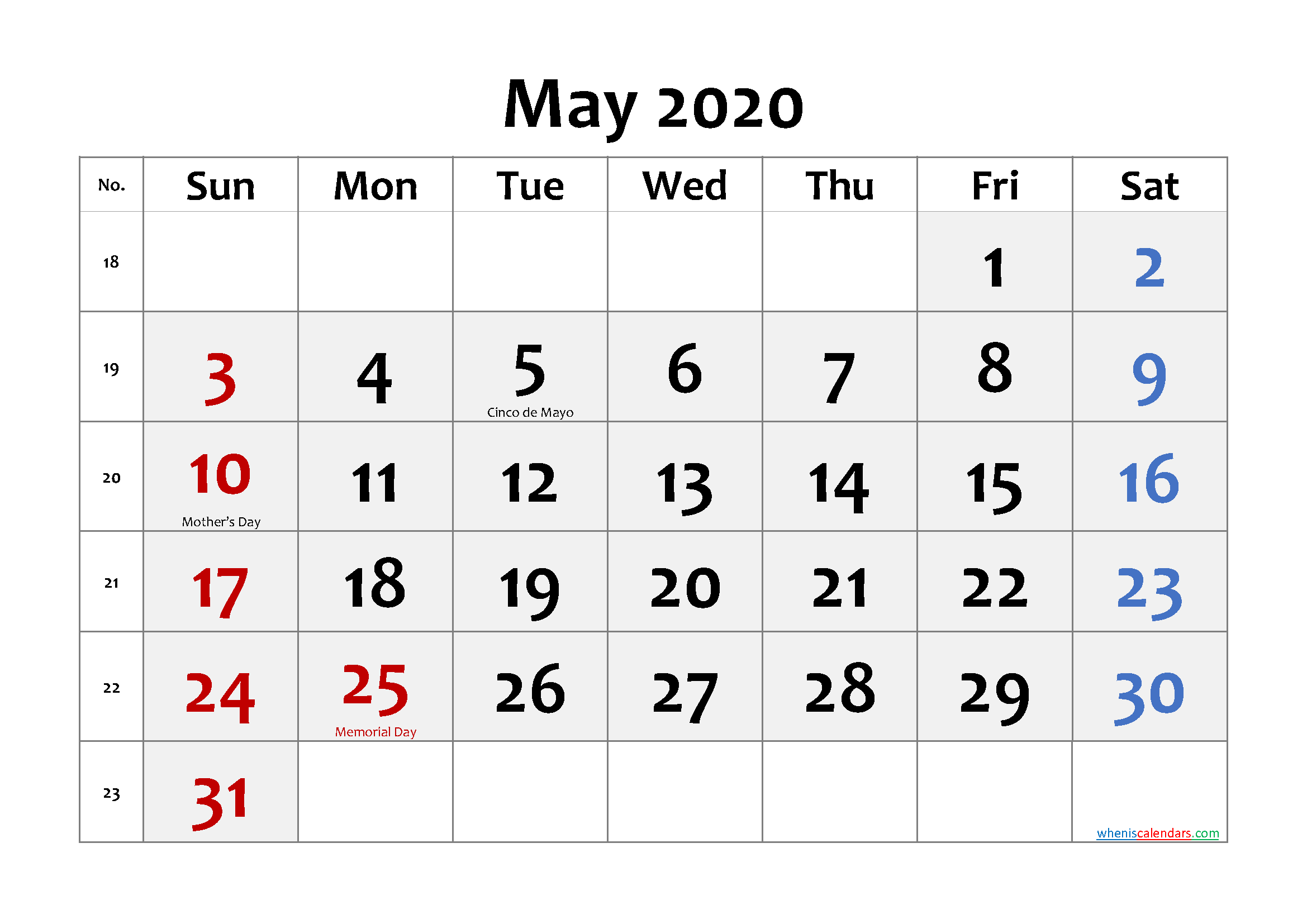 Free Printable MAY 2020 Calendar with Holidays