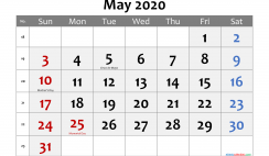 Printable May 2020 Calendar with Holidays