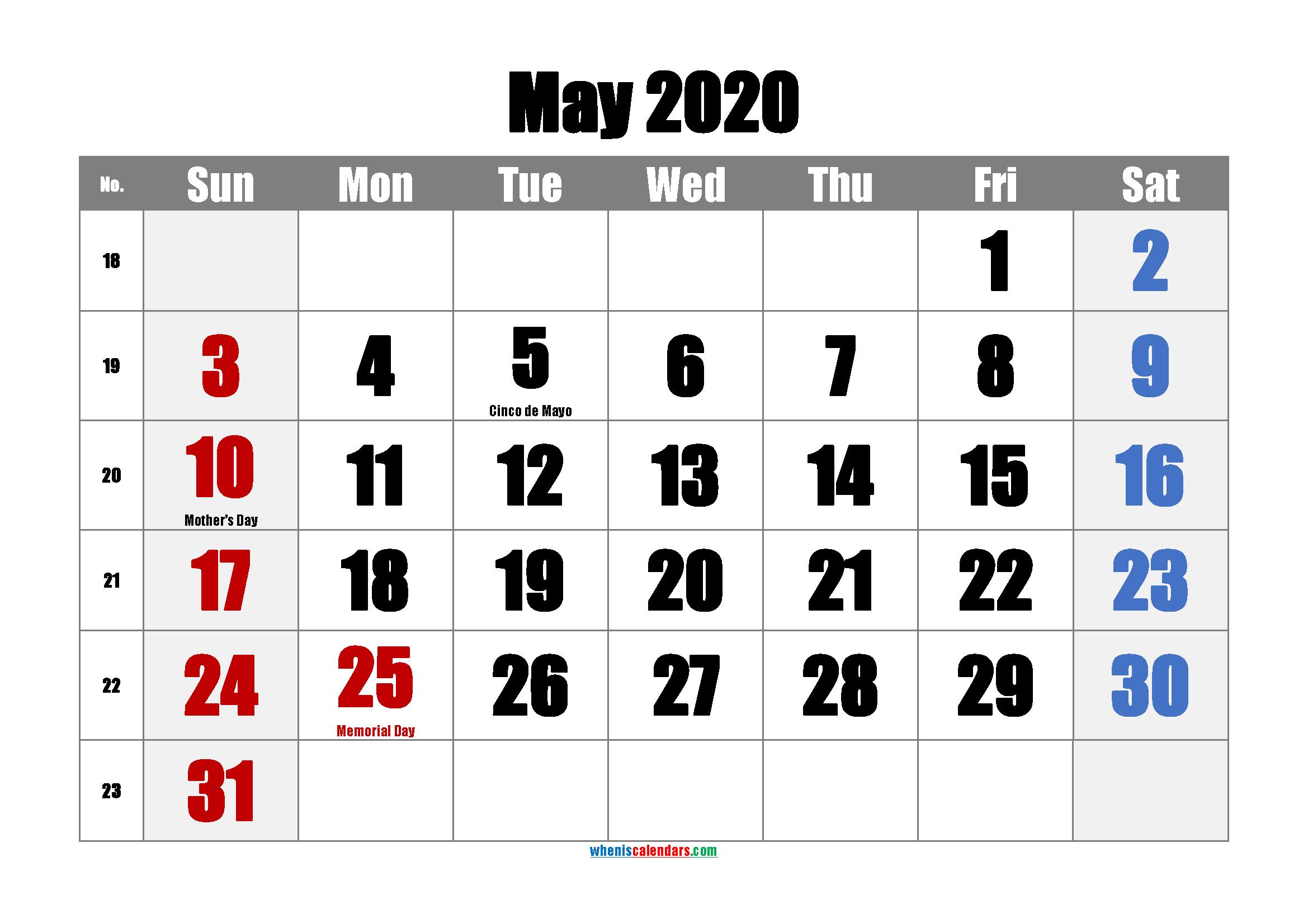 Printable Calendar May 2020