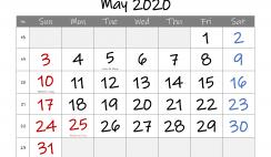 Free May 2020 Calendar Printable