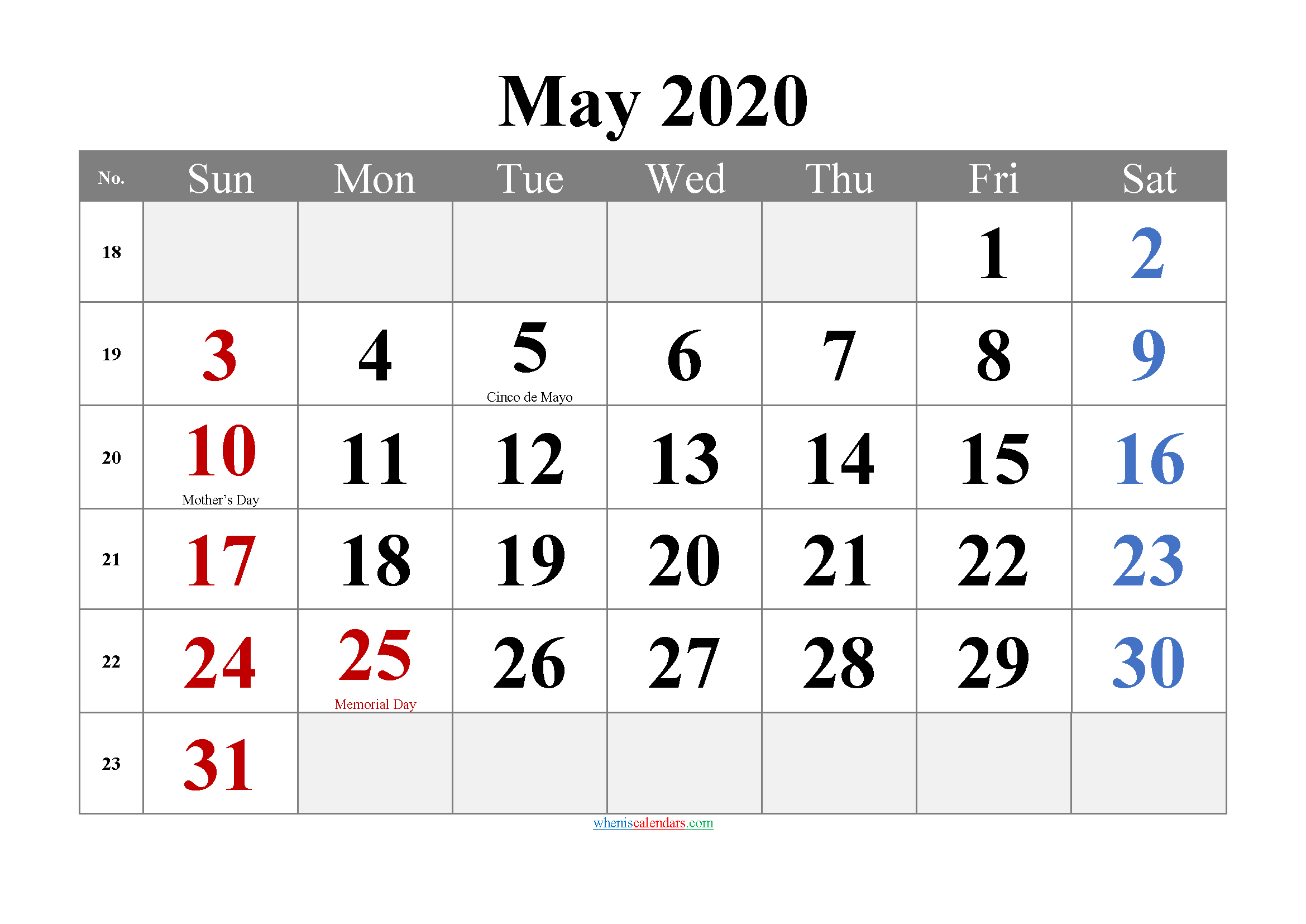 Printable May 2020 Calendar Word