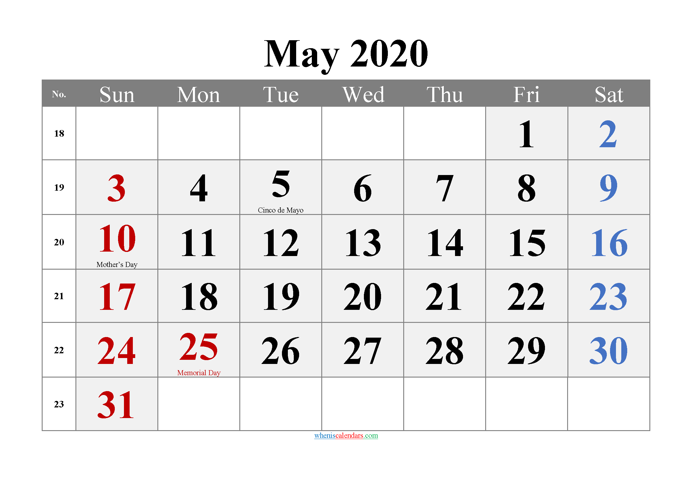 May 2020 Printable Calendar with Holidays