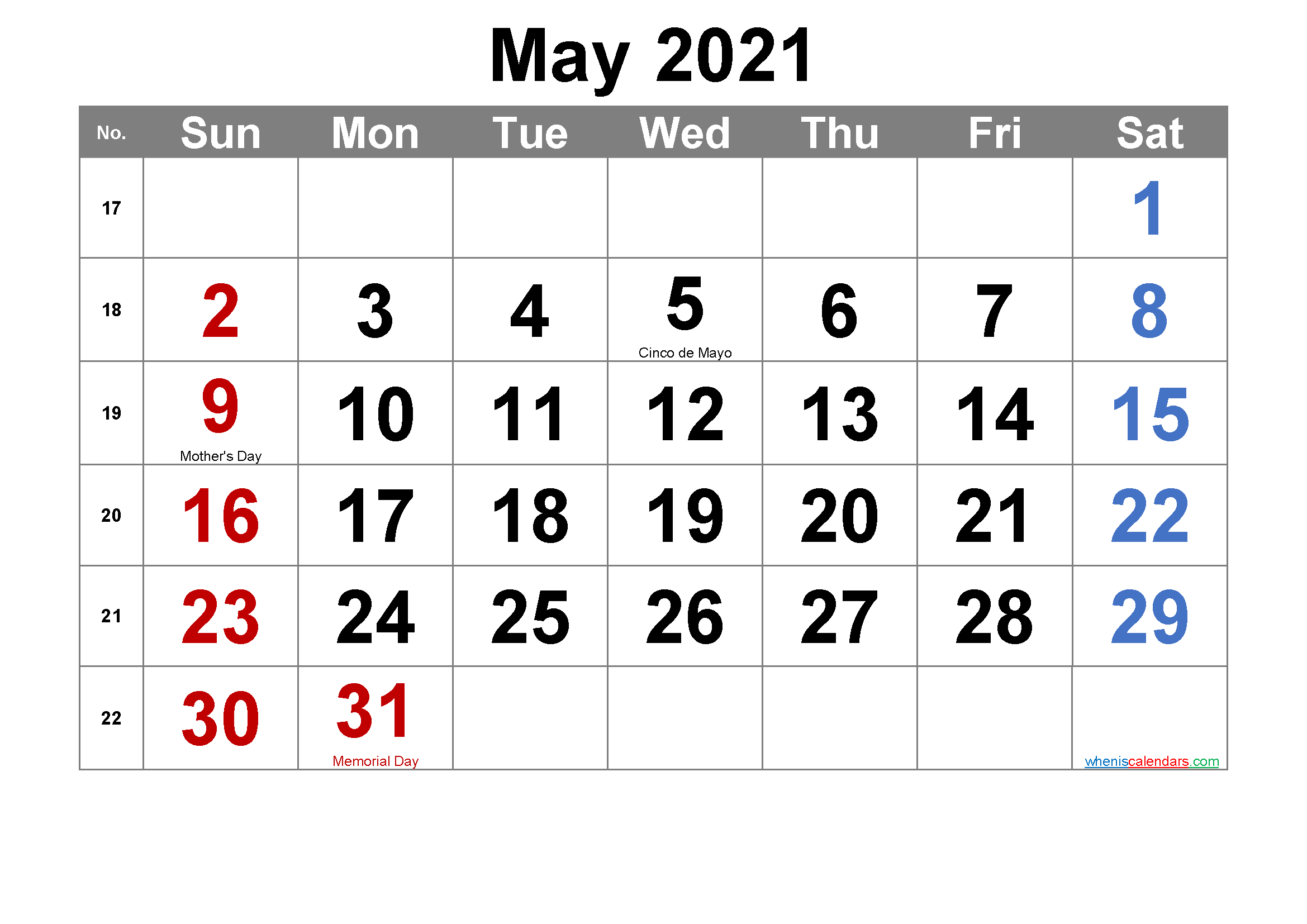 Editable May 2021 Calendar with Holidays