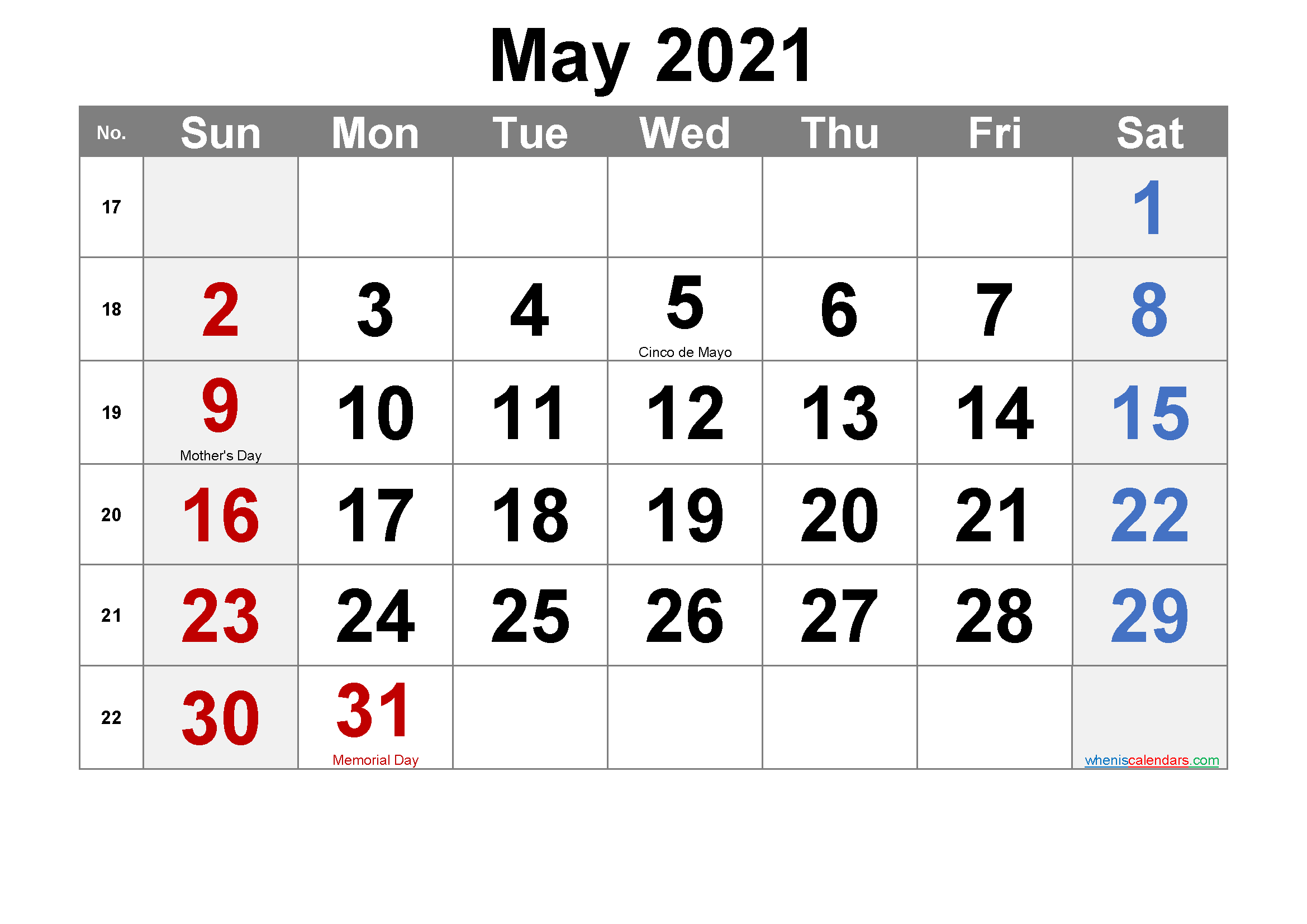 Printable May 2021 Calendar Word