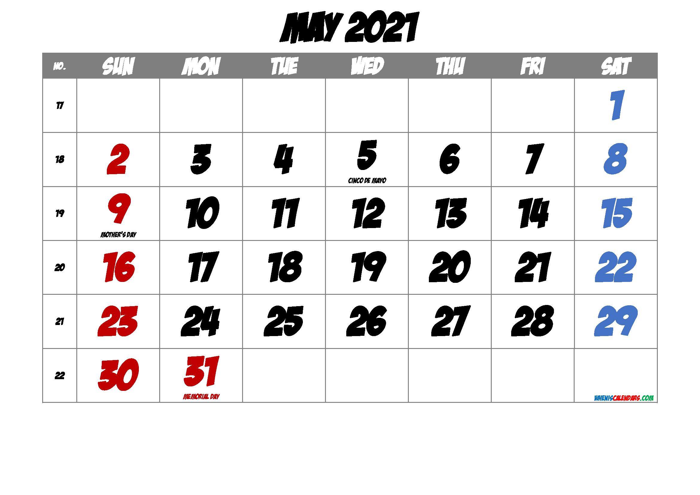 May 2021 Printable Calendar with Holidays