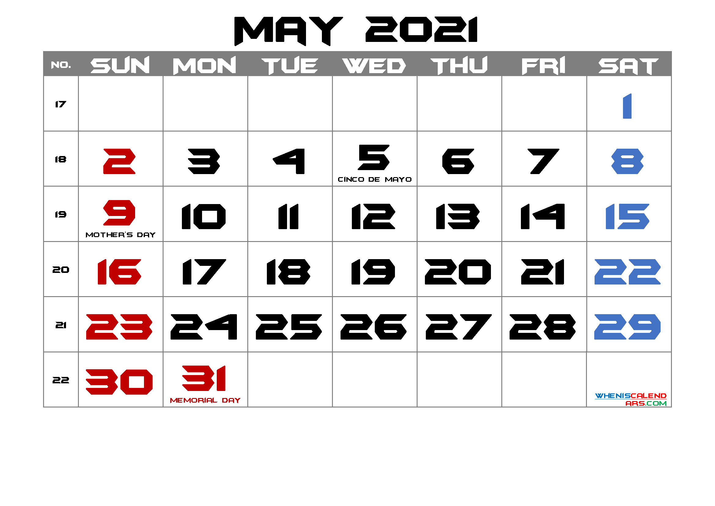 Free Printable MAY 2021 Calendar with Holidays