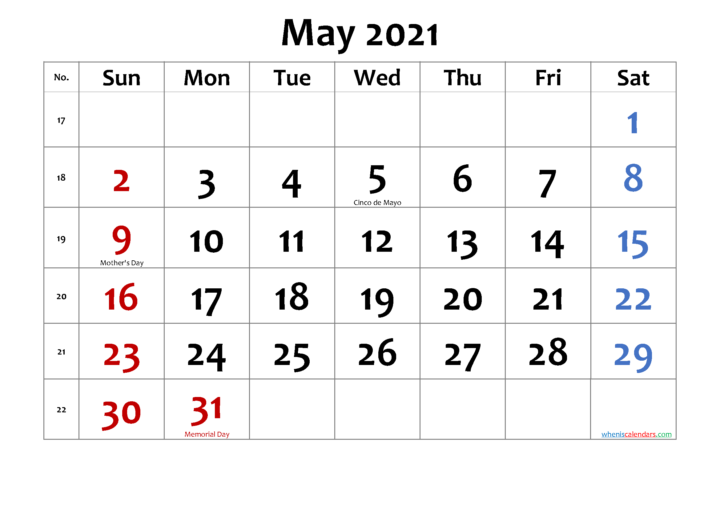 Images of Calendar For May 2021 With Holidays