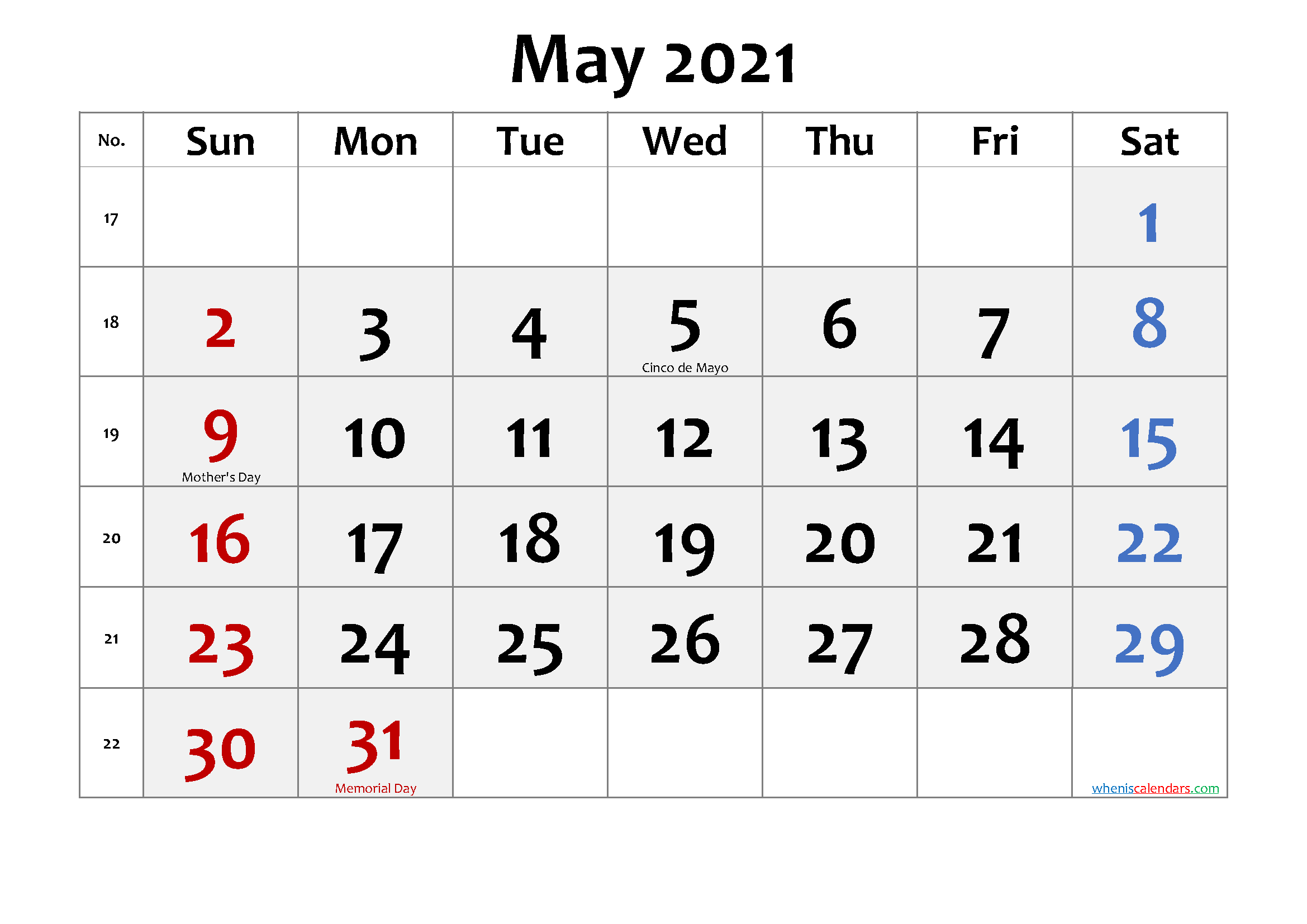 May 2021 Calendar With Holidays Free Printable May 2021 Calendar with Holidays – Free Printable