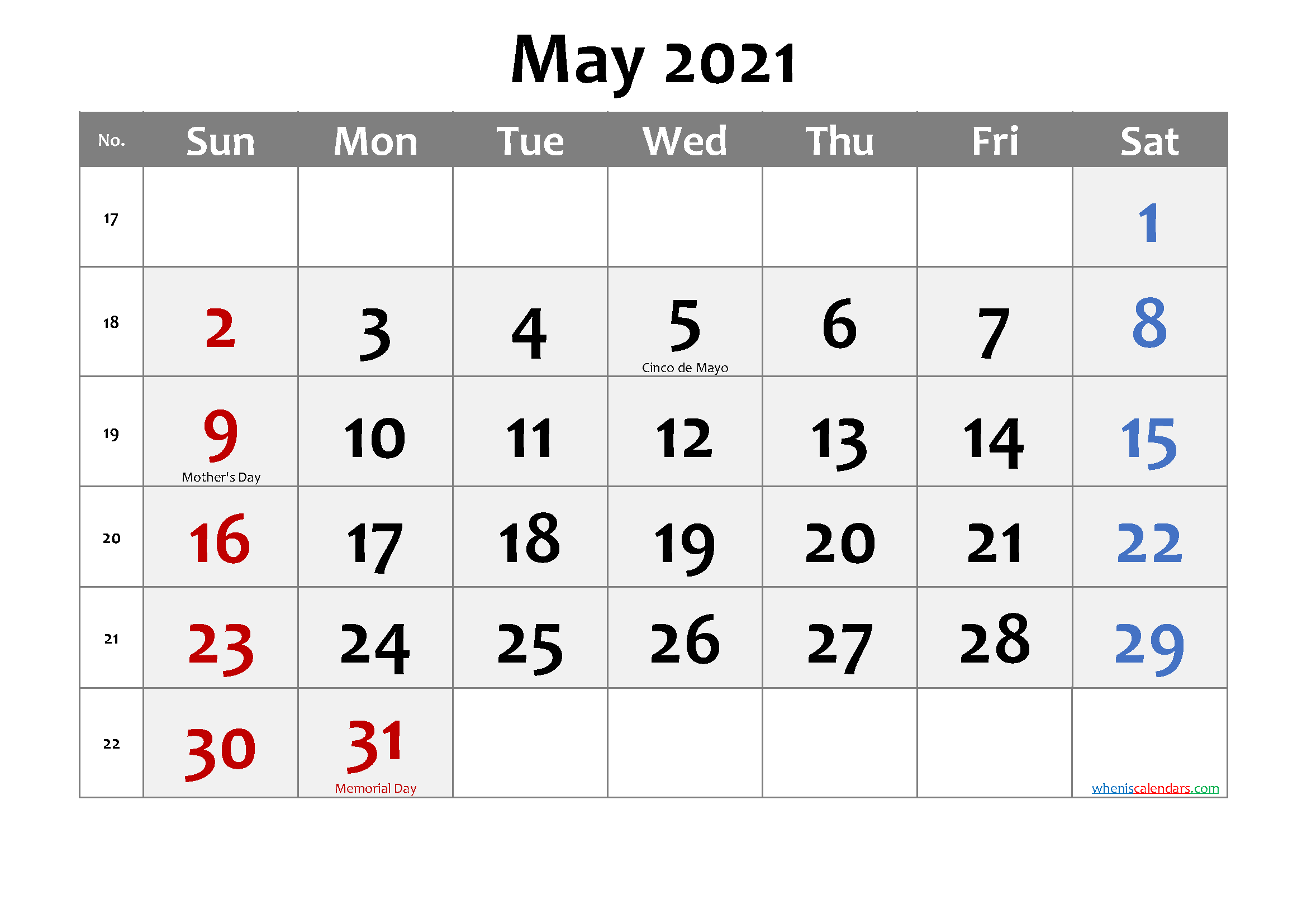 Printable MAY 2021 Calendar with Holidays