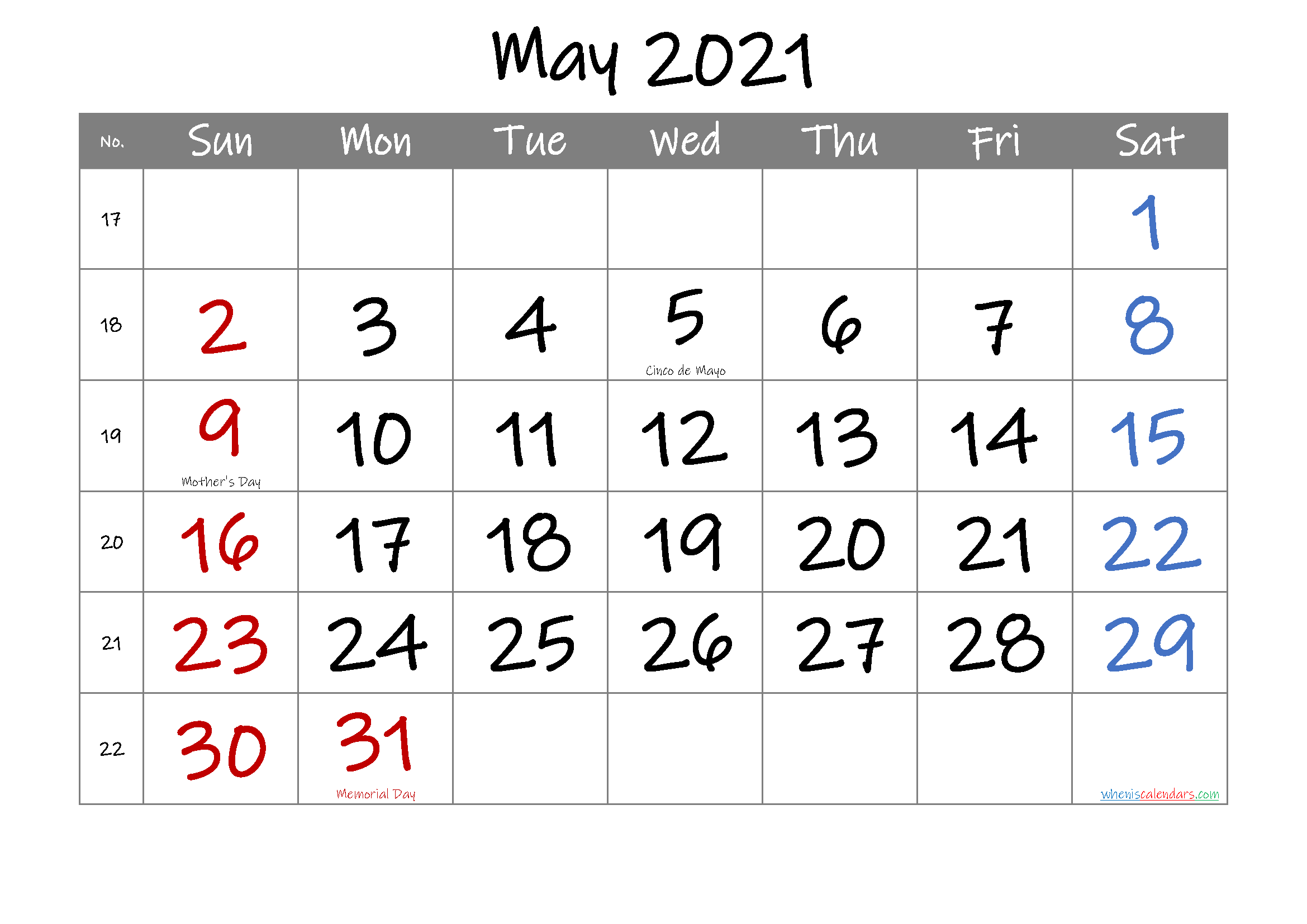 Free May 2021 Printable Calendar with Holidays