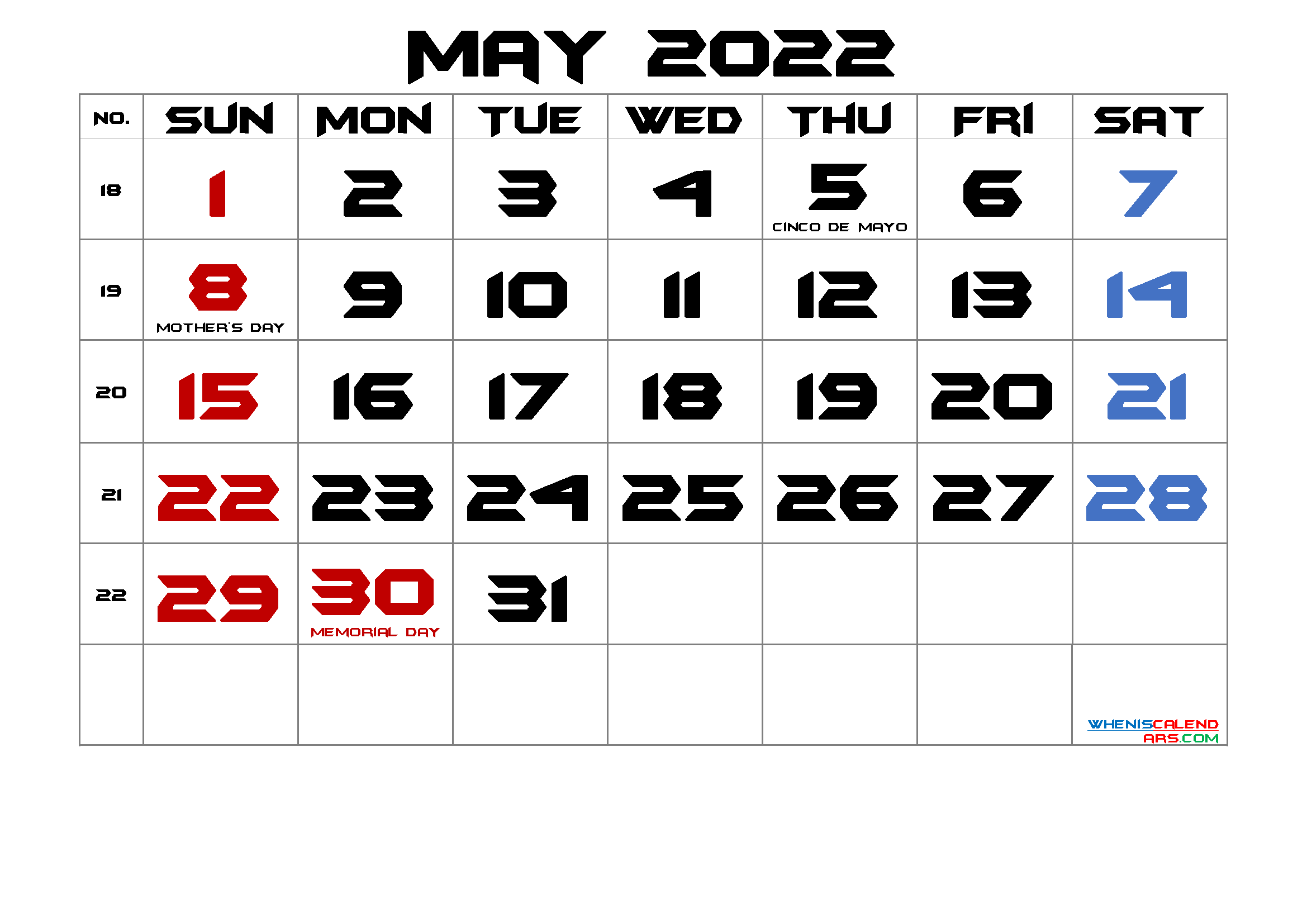 MAY 2022 Printable Calendar with Holidays