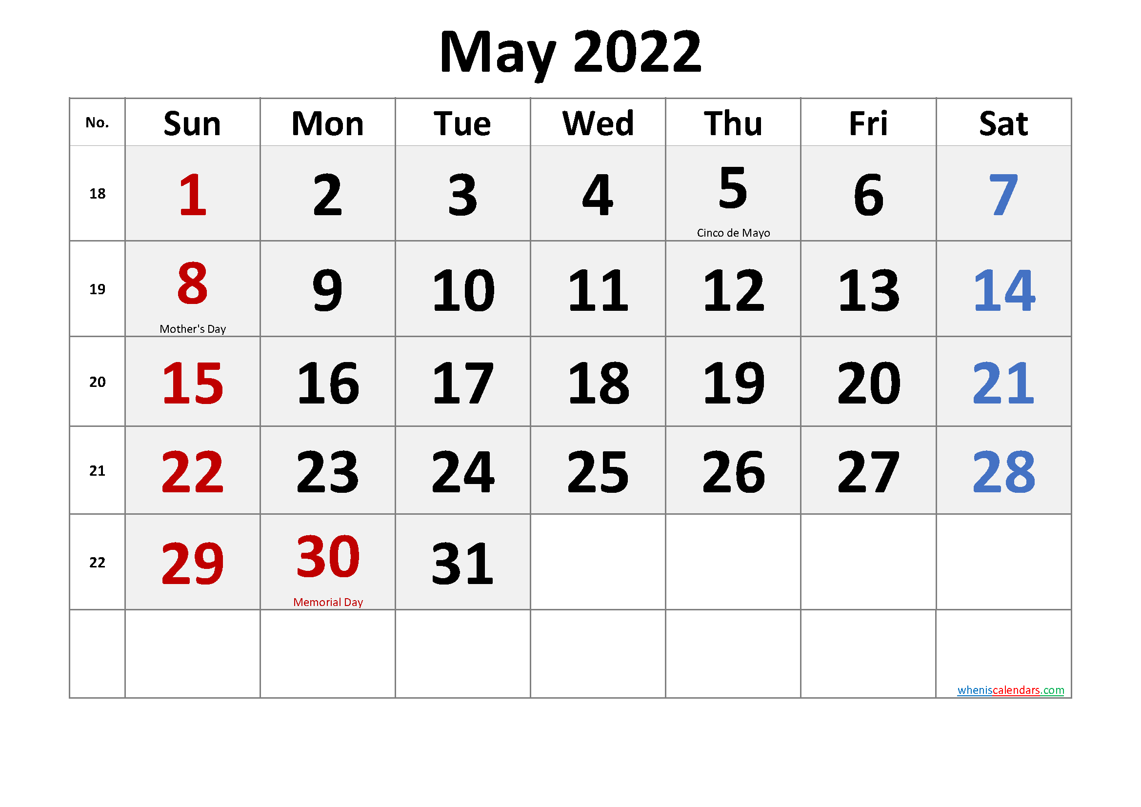 May 2022 Calendar with Holidays Printable