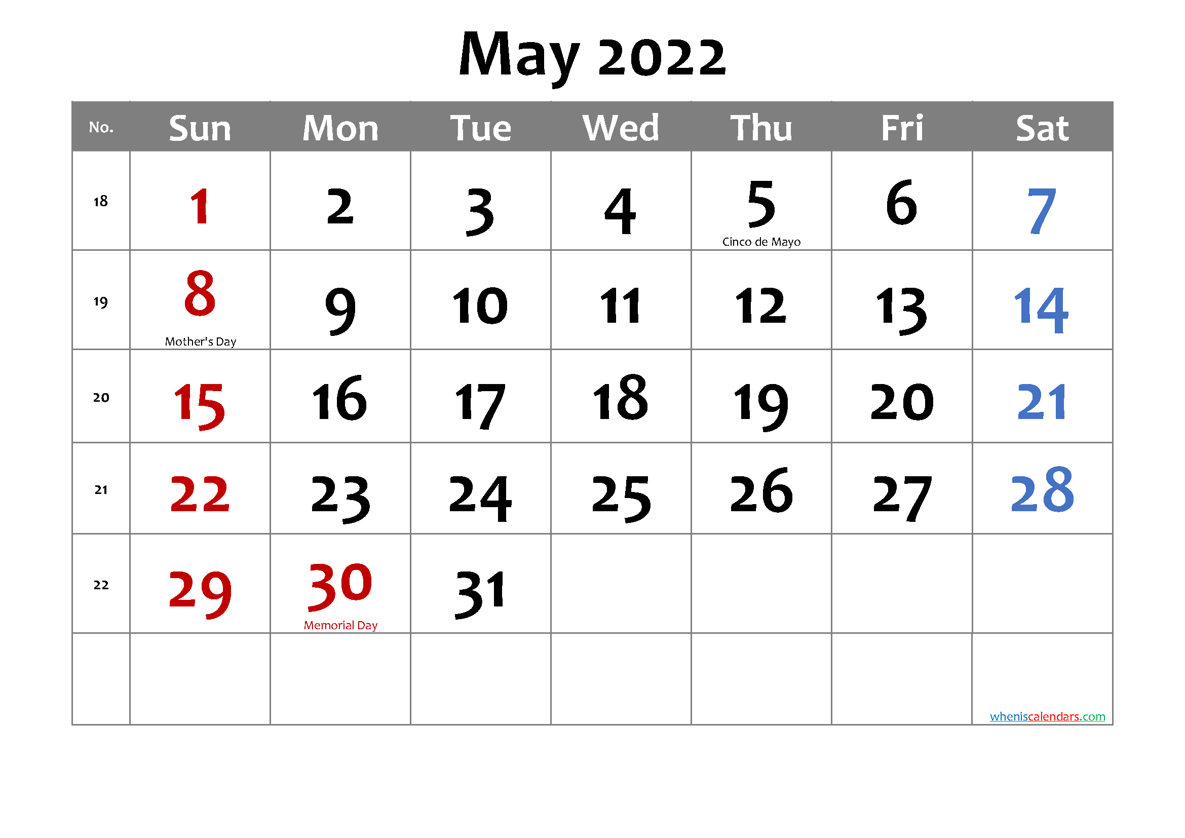 Printable May 2022 Calendar Word