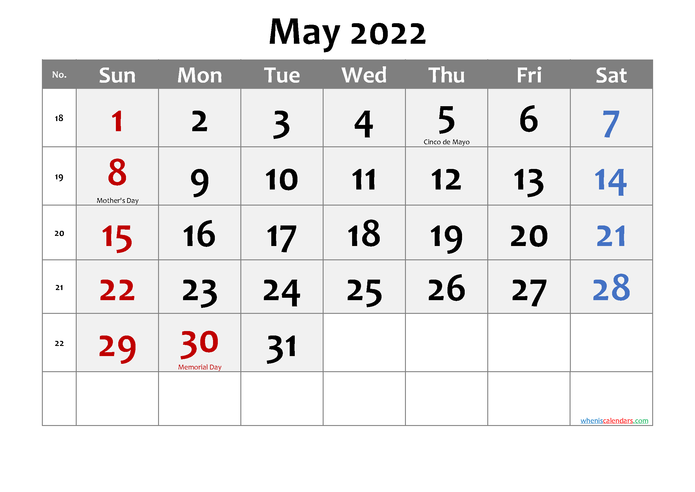 Printable May 2022 Calendar with Holidays