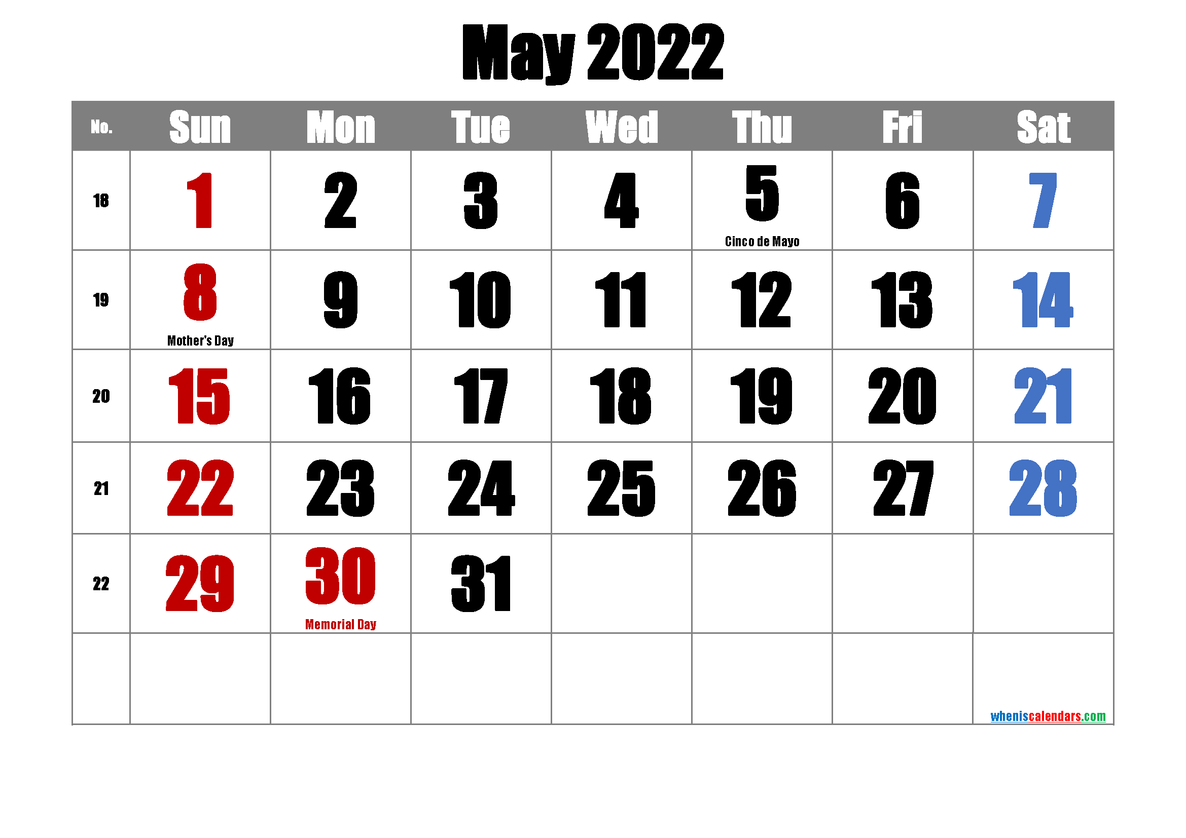 Printable May 2022 Calendar PDF