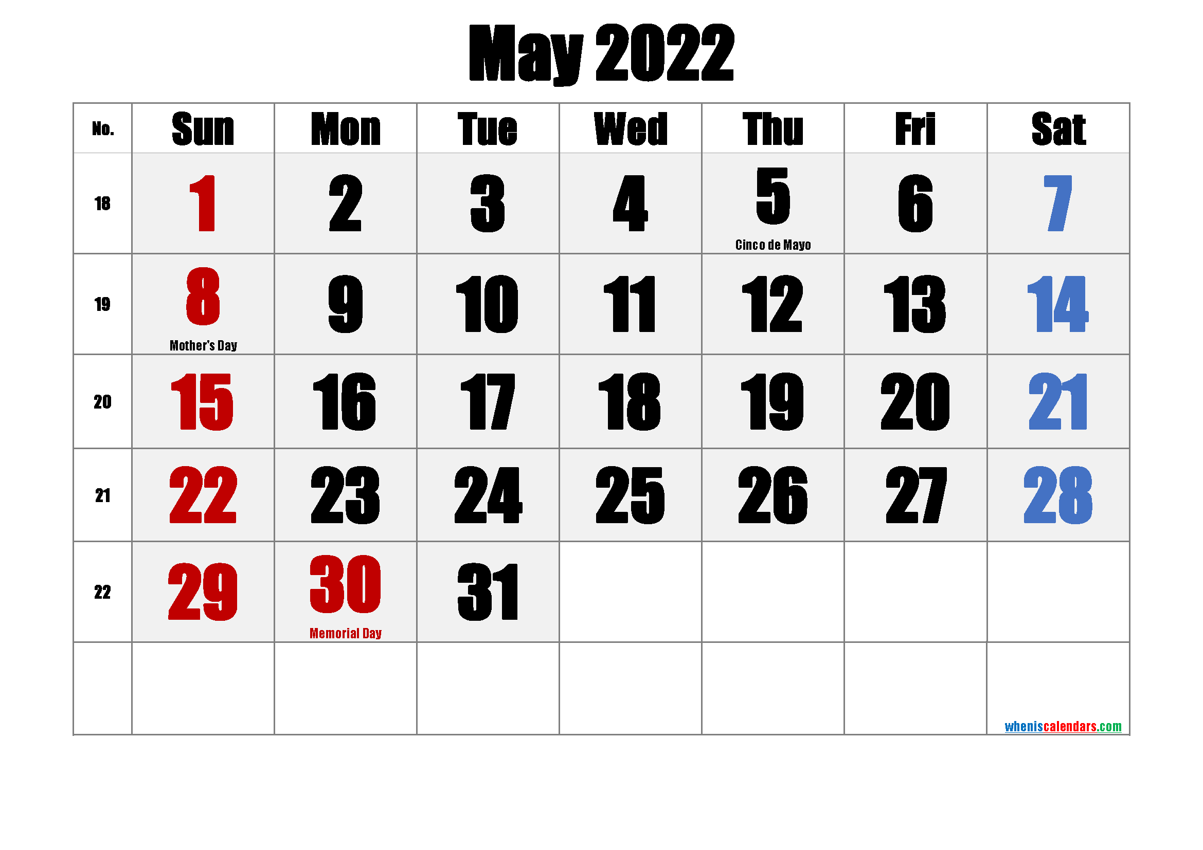 May 2022 Free Printable Calendar with Holidays
