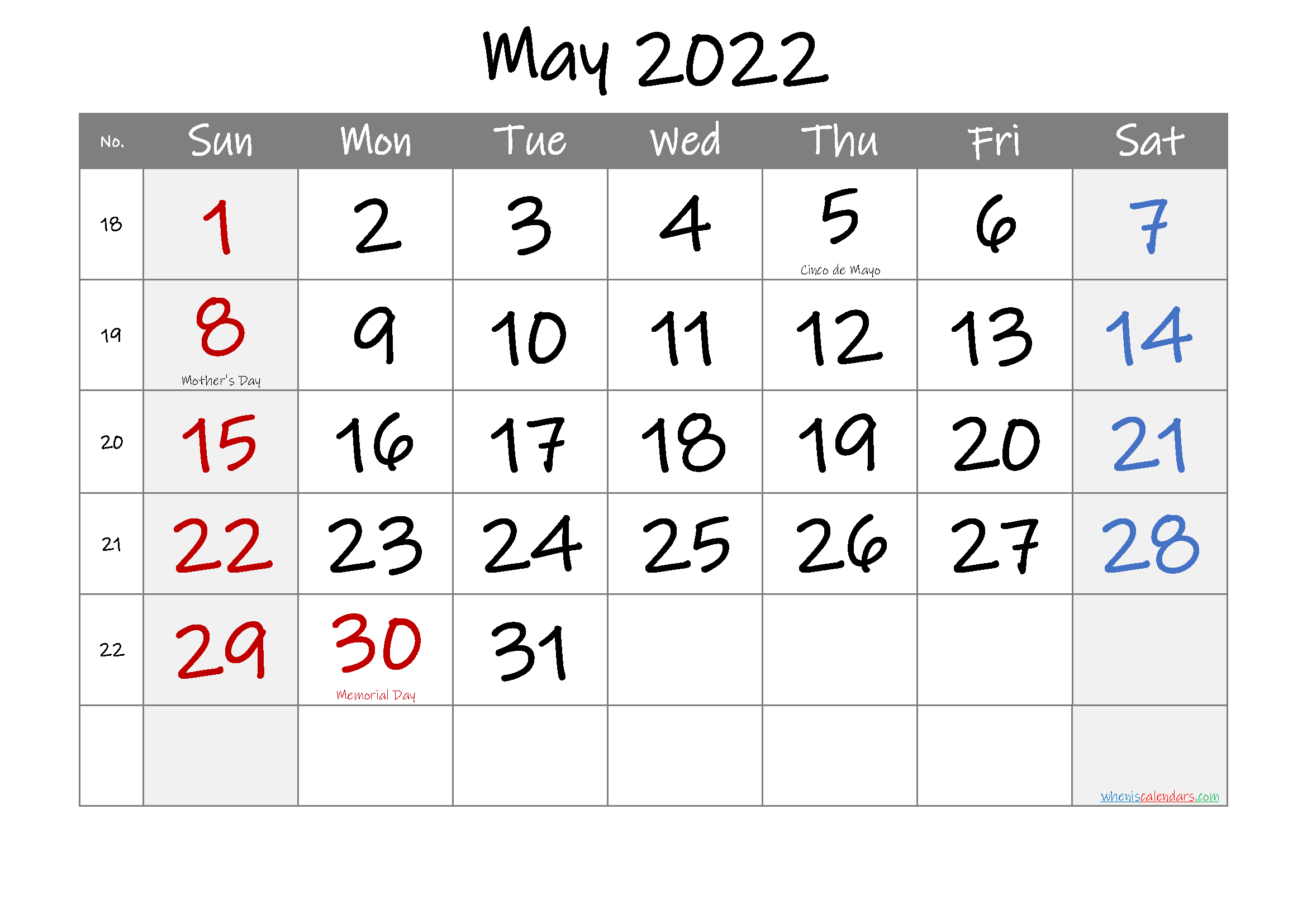 Printable MAY 2022 Calendar with Holidays