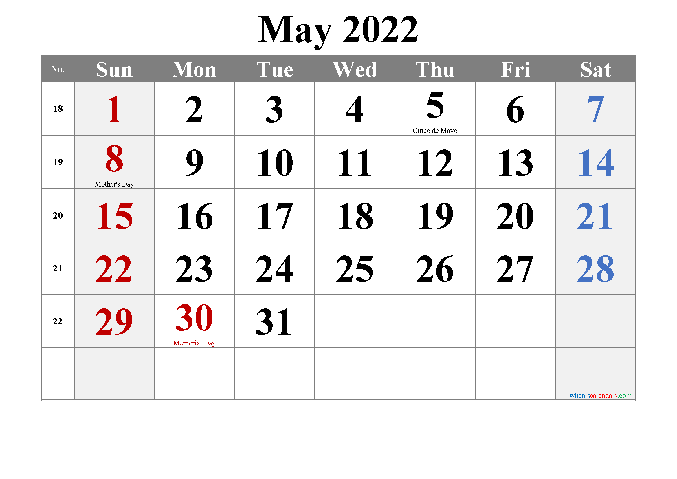 Editable May 2022 Calendar-Template No.tr22m17