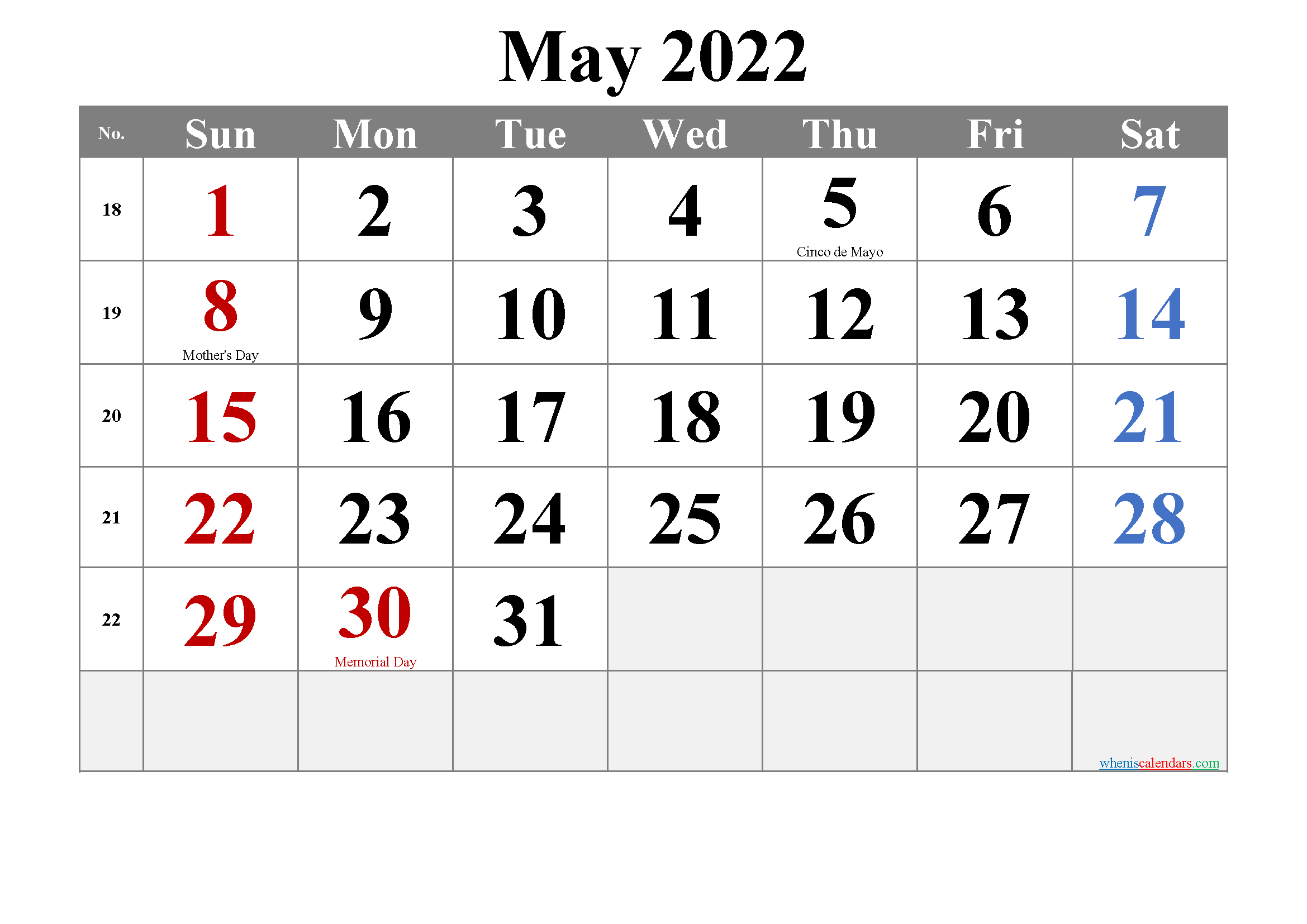 Free Printable MAY 2022 Calendar with Holidays