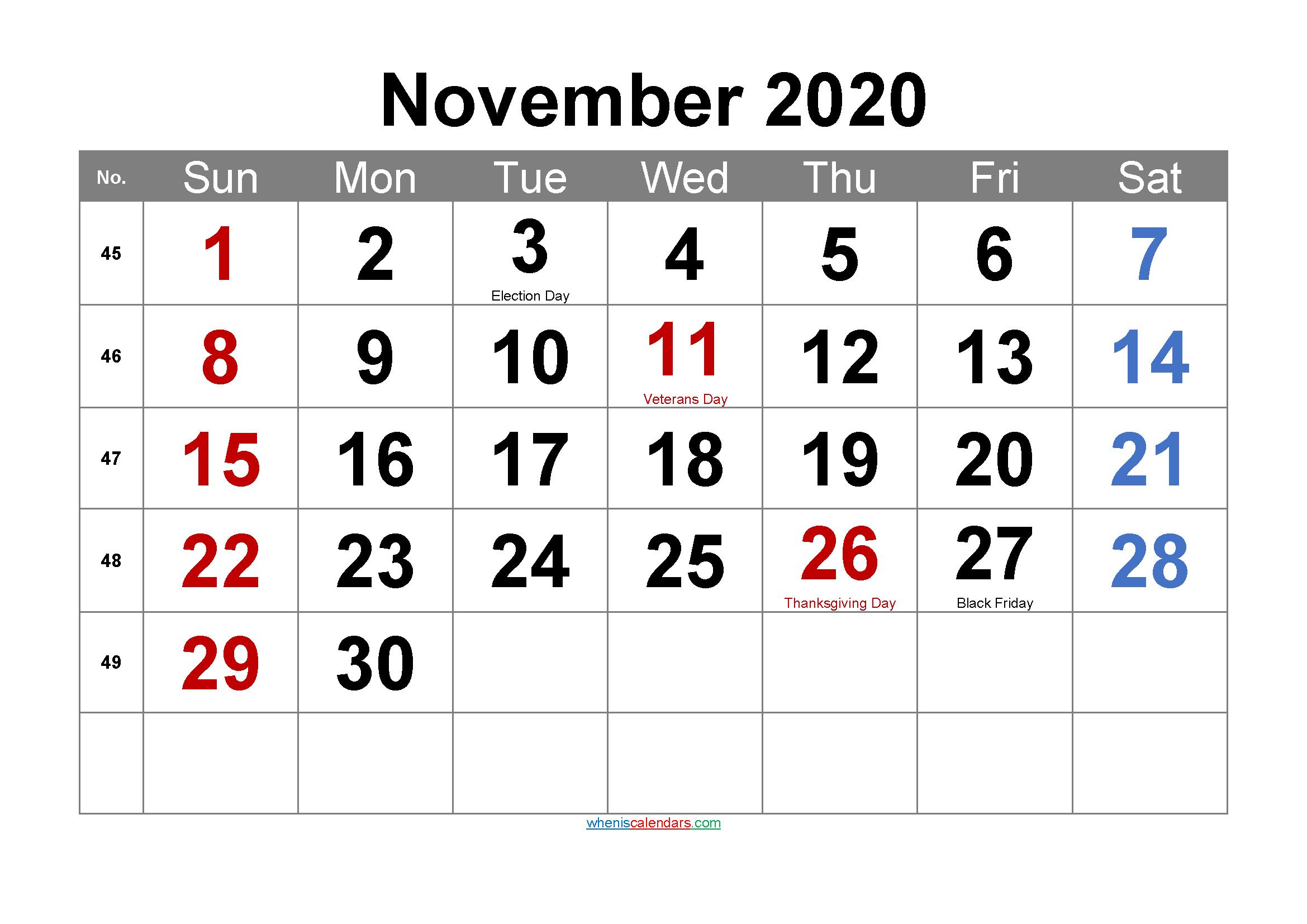 Editable November 2020 Calendar with Holidays