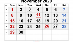 Printable November 2020 Calendar with Holidays