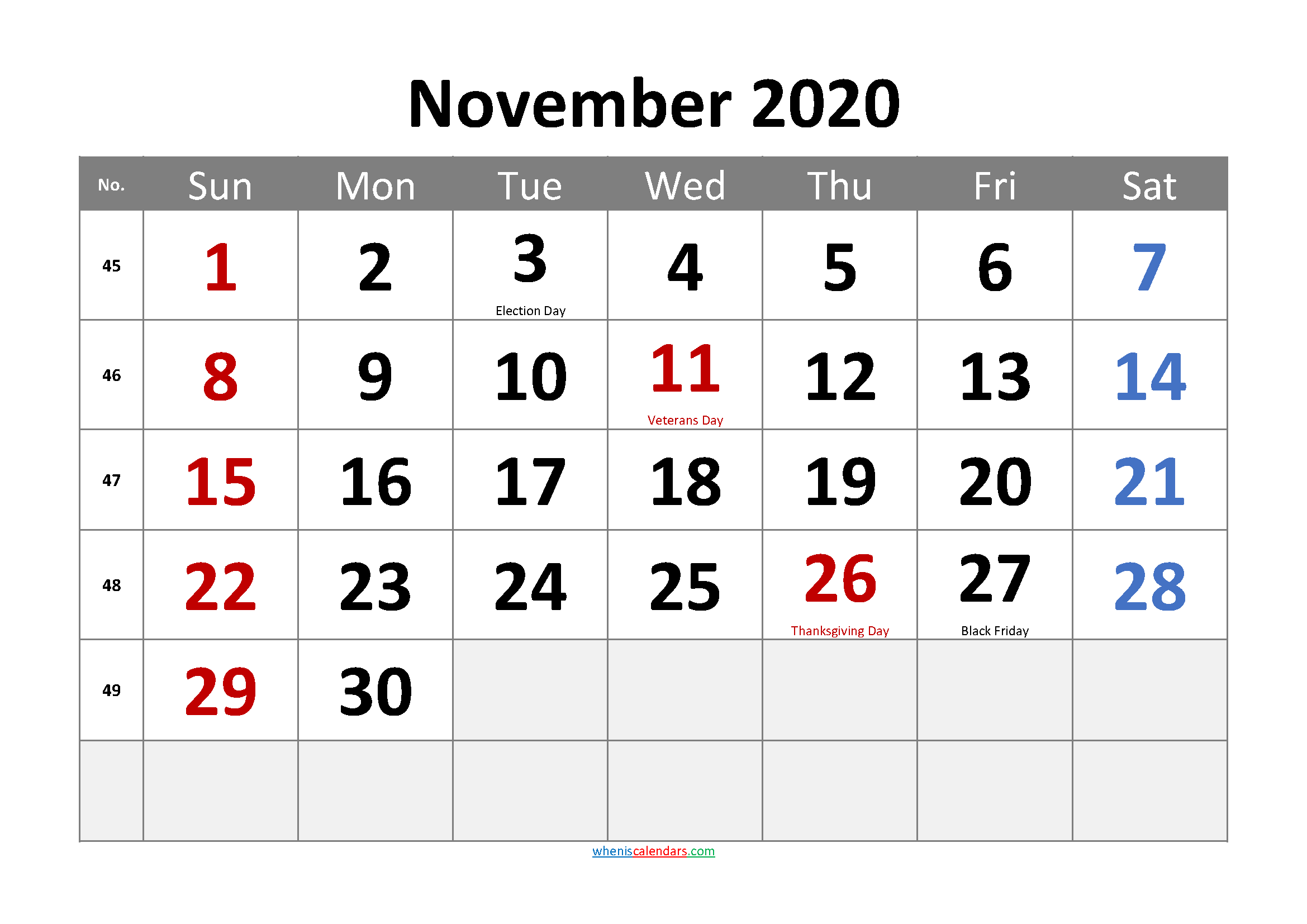 Free Printable NOVEMBER 2020 Calendar with Holidays