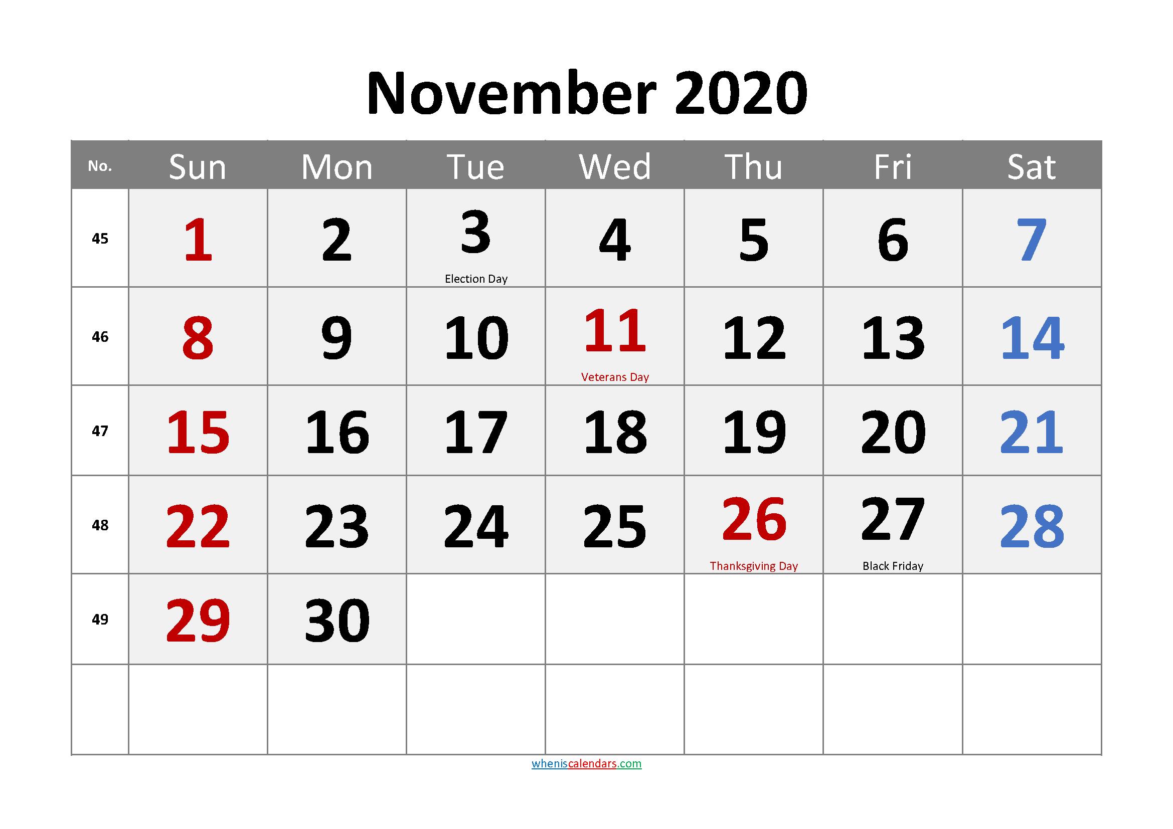 NOVEMBER 2020 Printable Calendar with Holidays