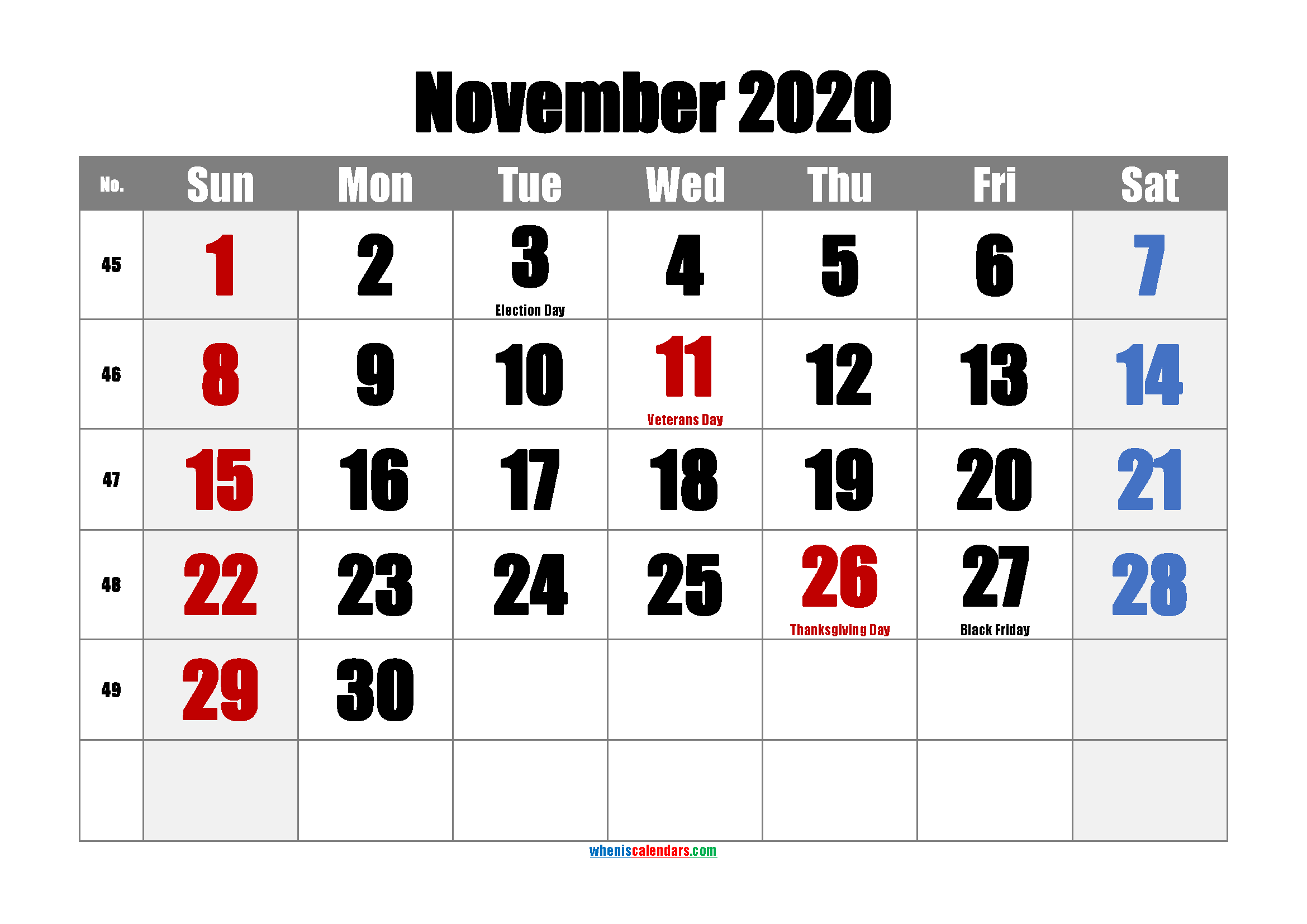 November 2020 Printable Calendar with Holidays